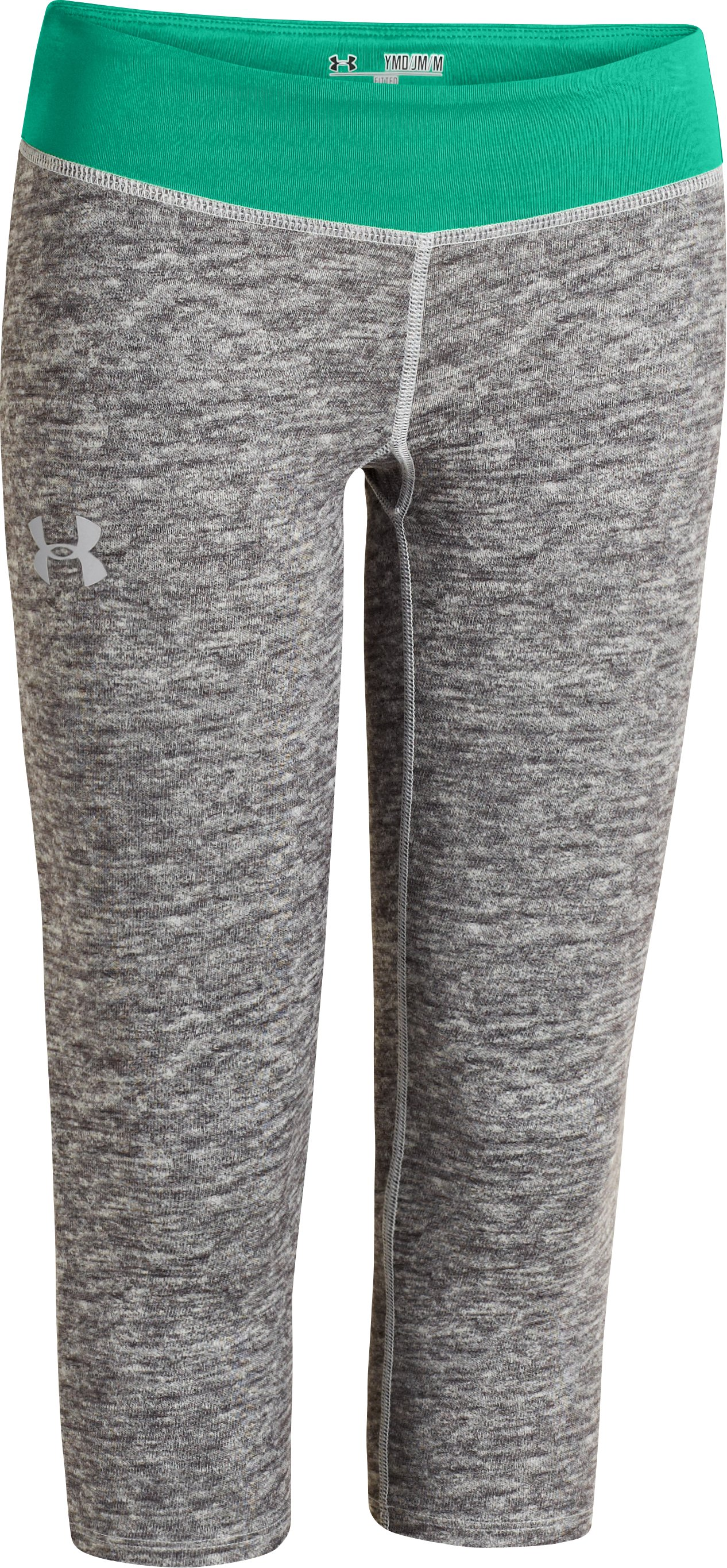 Girls' HeatGear® Armour Printed Capri, True Gray Heather, zoomed image