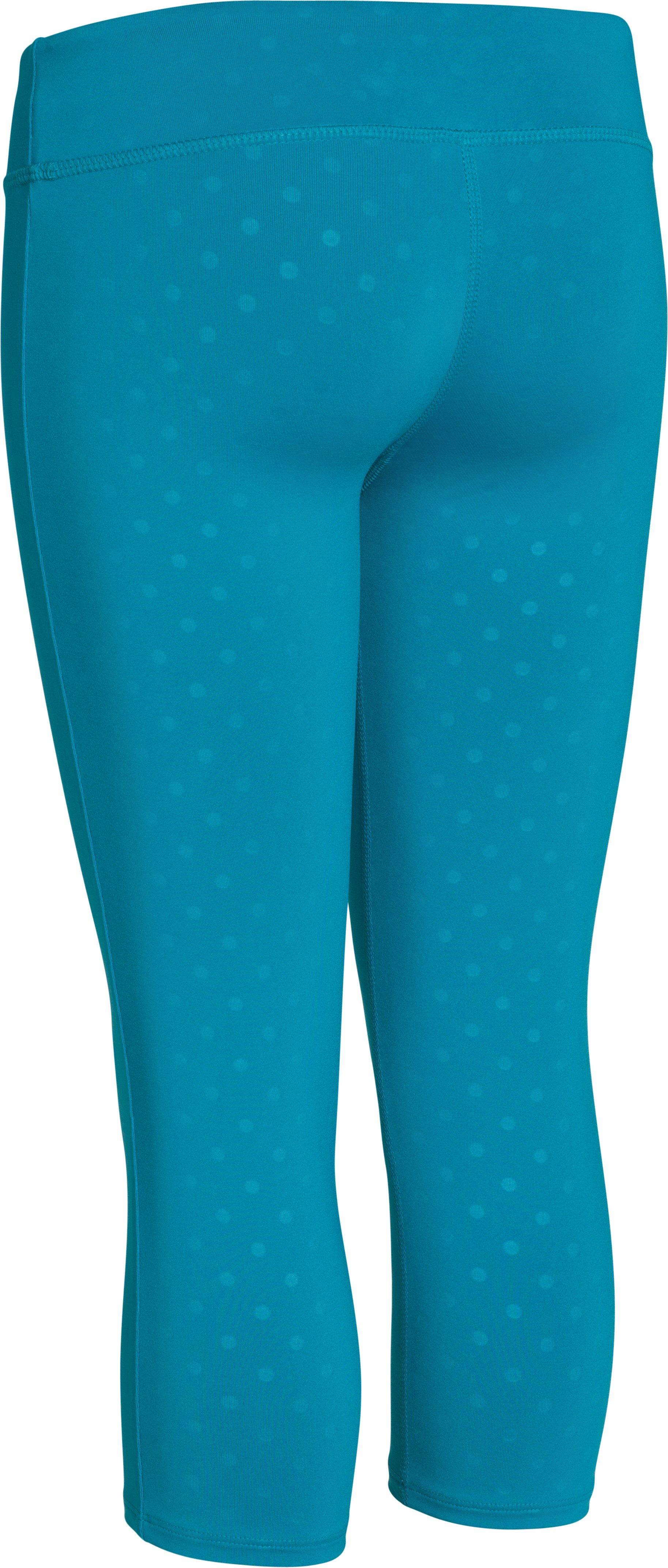 Girls' HeatGear® Armour Printed Capri, TEAL ICE,