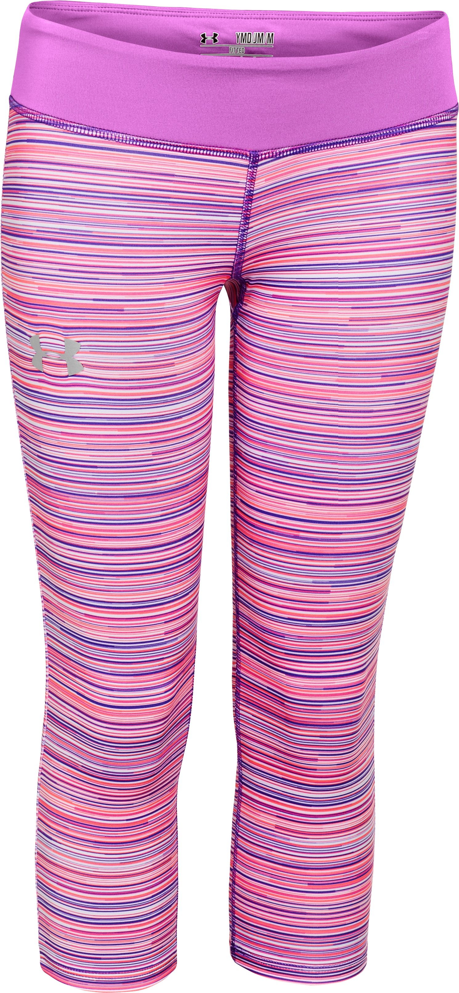 Girls' HeatGear® Armour Printed Capri, BRILLIANCE