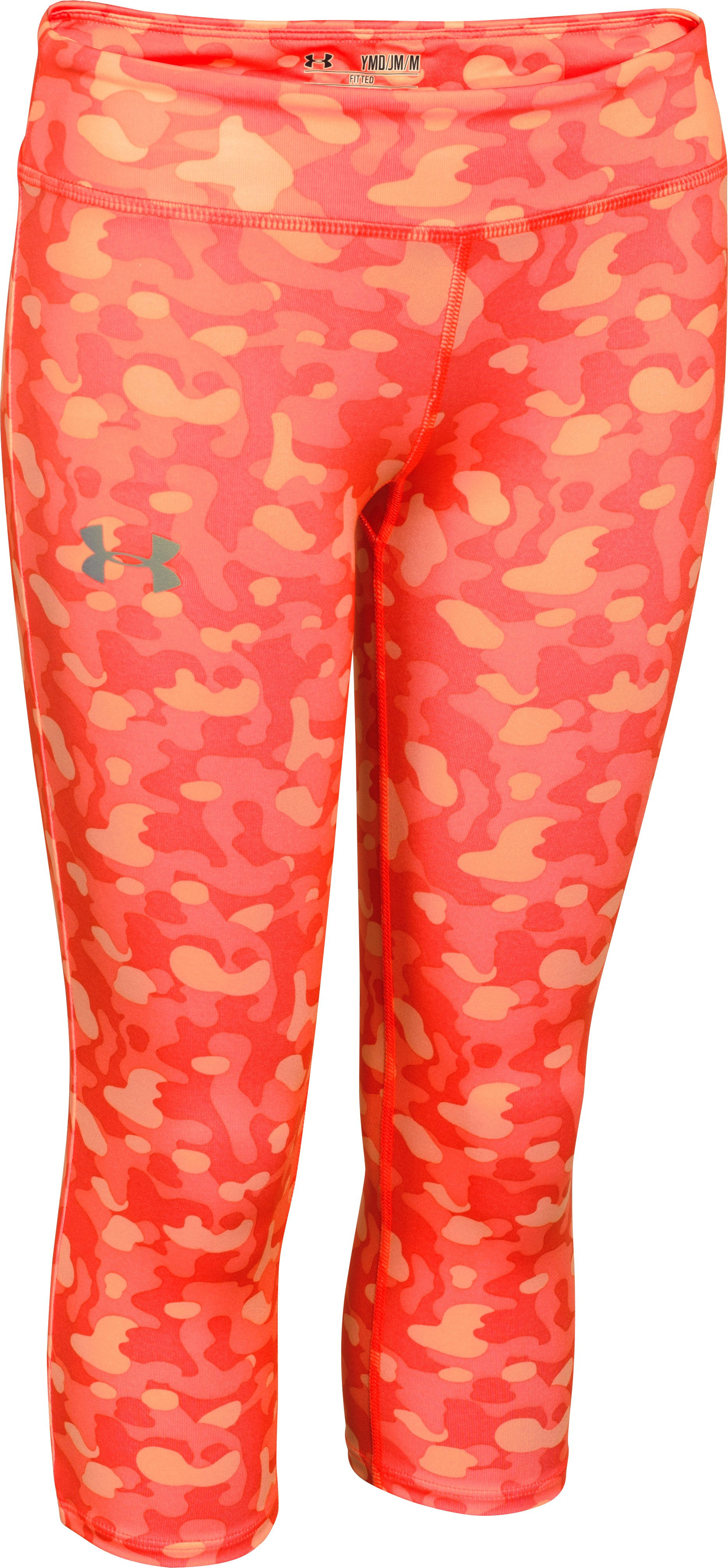 Girls' HeatGear® Armour Printed Capri, AFTER BURN, zoomed image