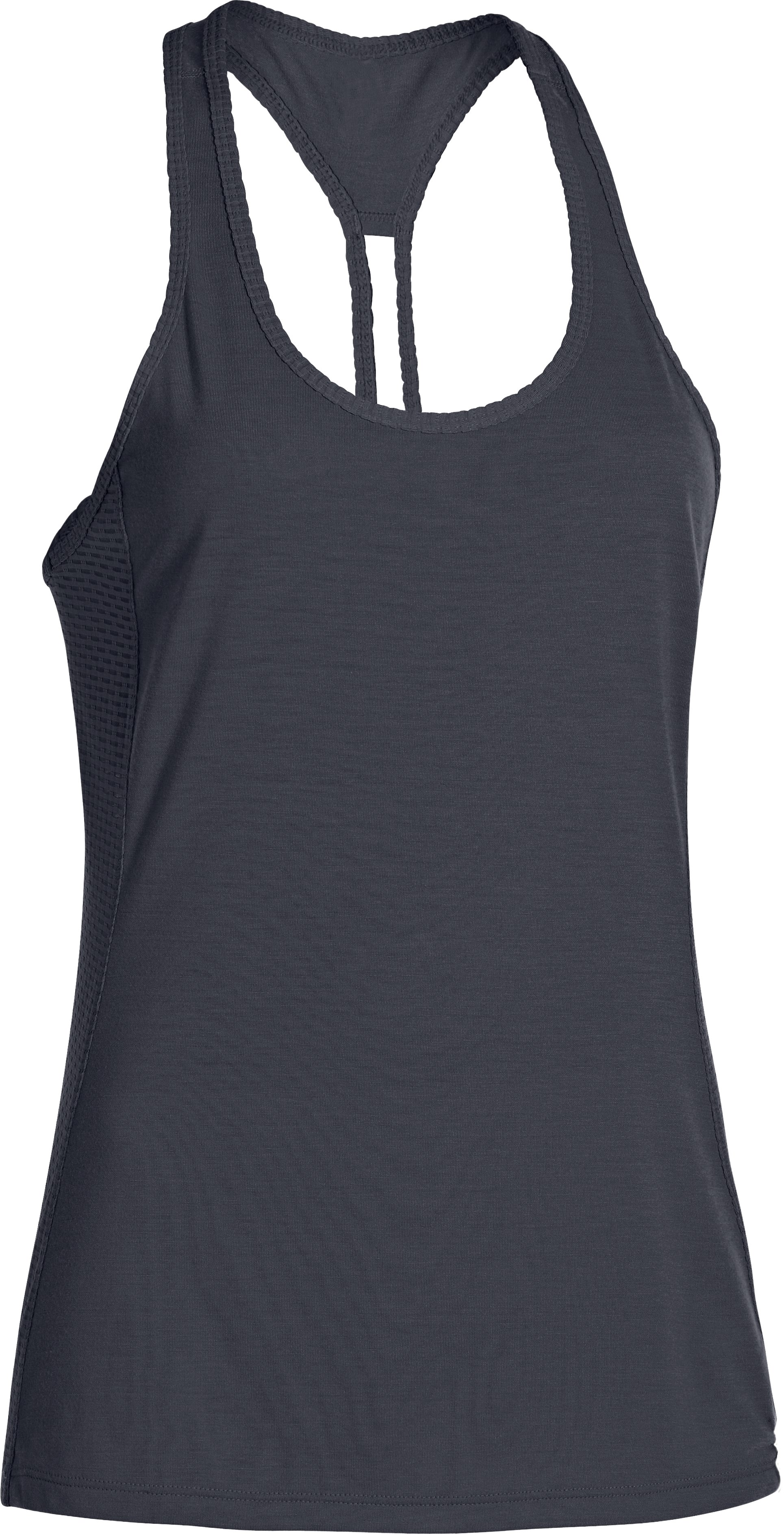 Women's UA Fly-By Stretch Mesh Tank, Lead, undefined