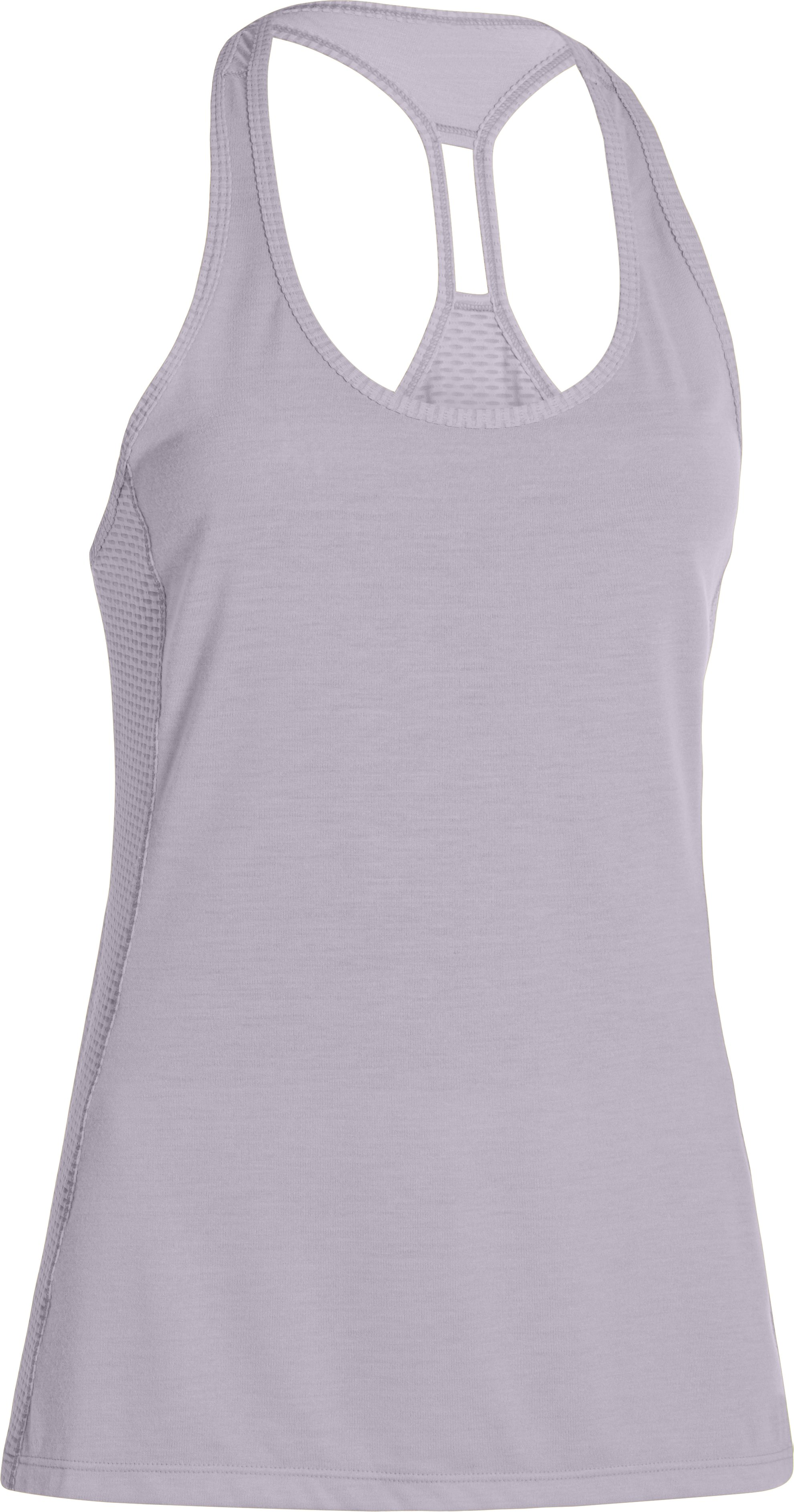 Women's UA Fly-By Stretch Mesh Tank, CLOUD GRAY, undefined