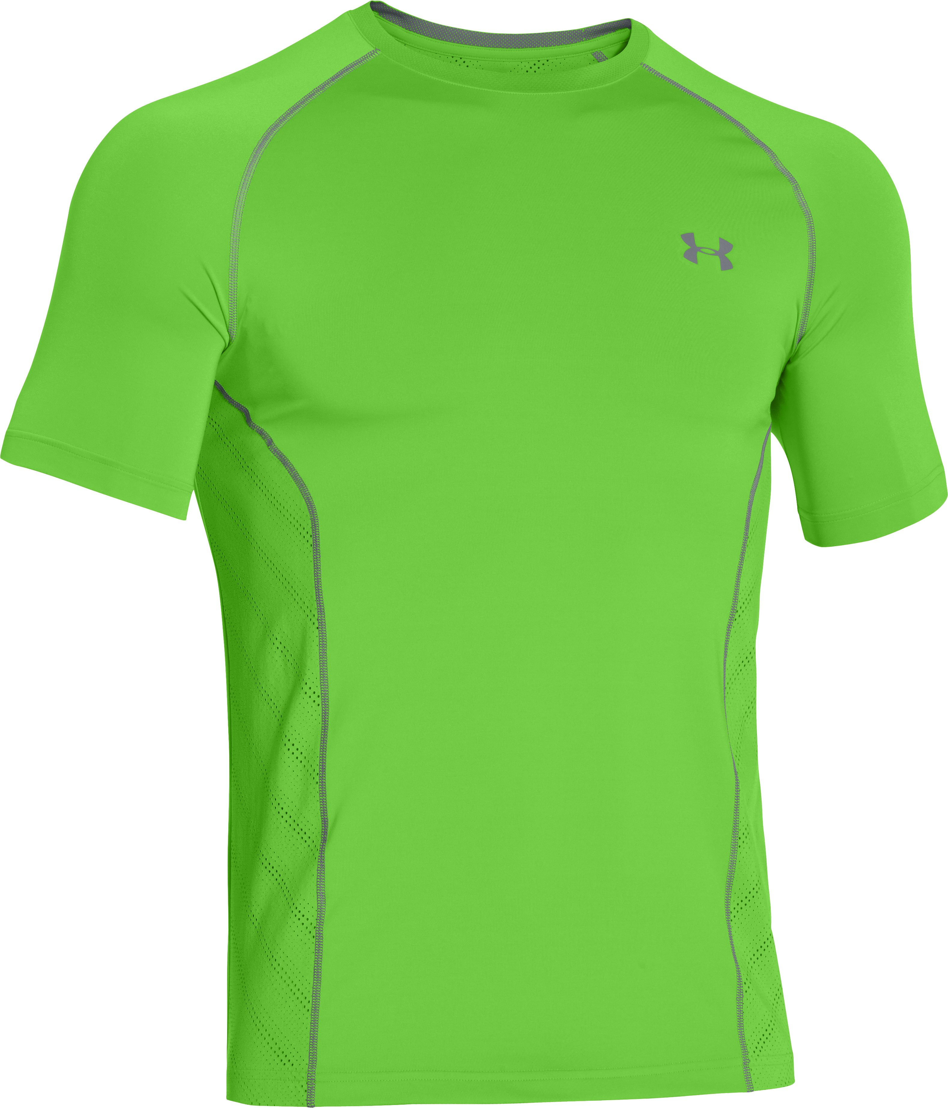 Men's HeatGear® Sonic ArmourVent™ Short Sleeve, GECKO GREEN,