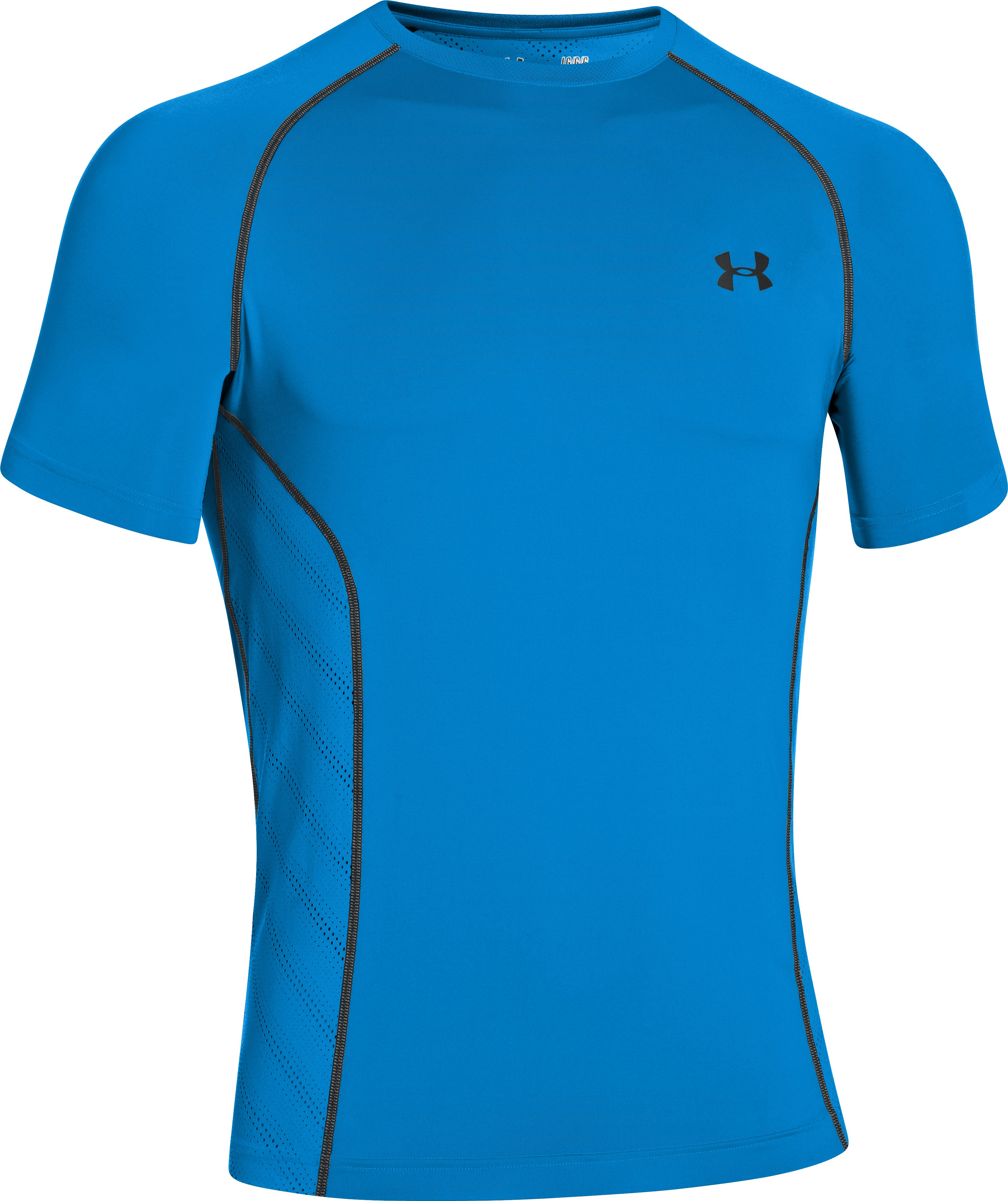 Men's HeatGear® Sonic ArmourVent™ Short Sleeve, ELECTRIC BLUE, undefined