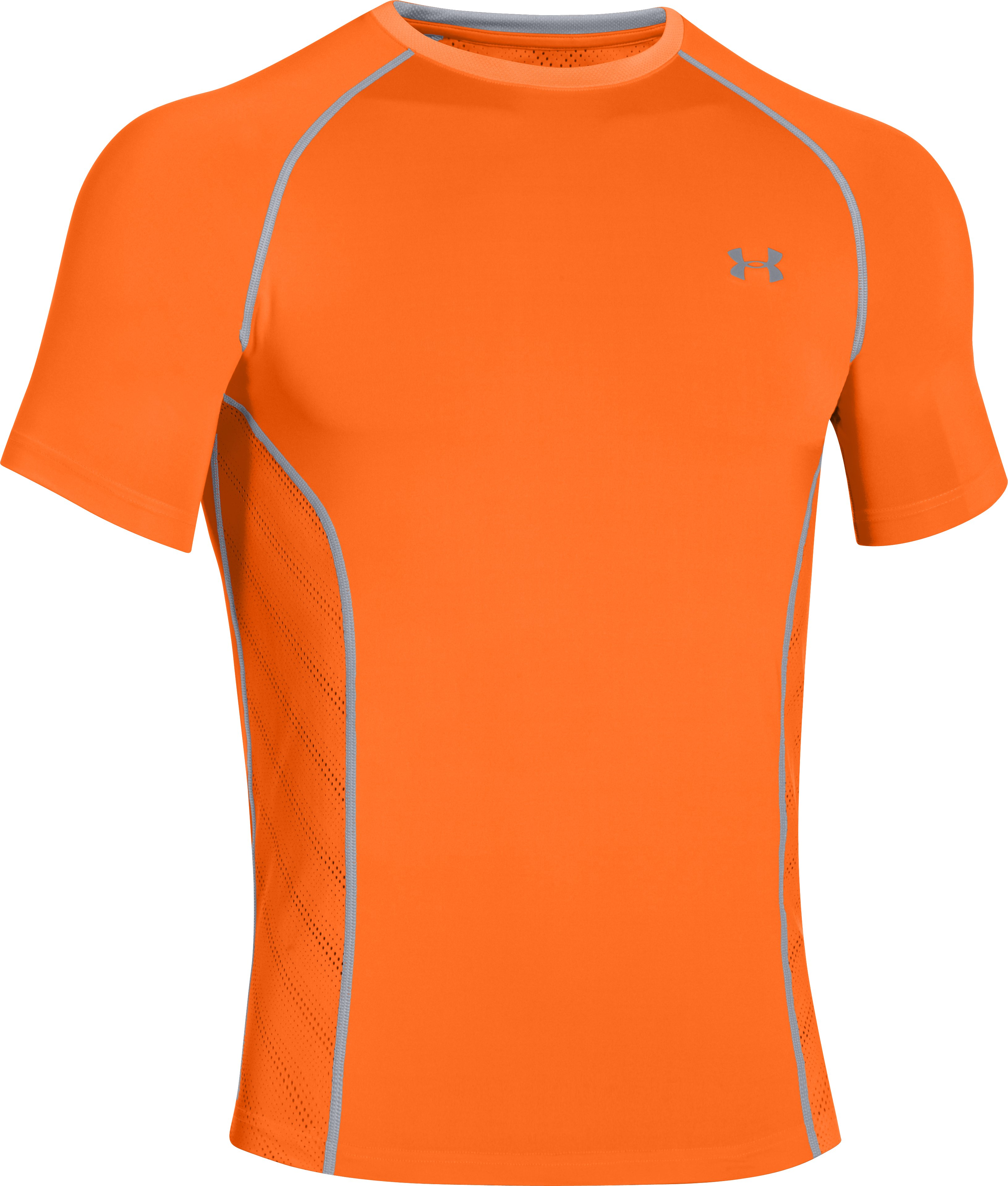 Men's HeatGear® Sonic ArmourVent™ Short Sleeve, Blaze Orange