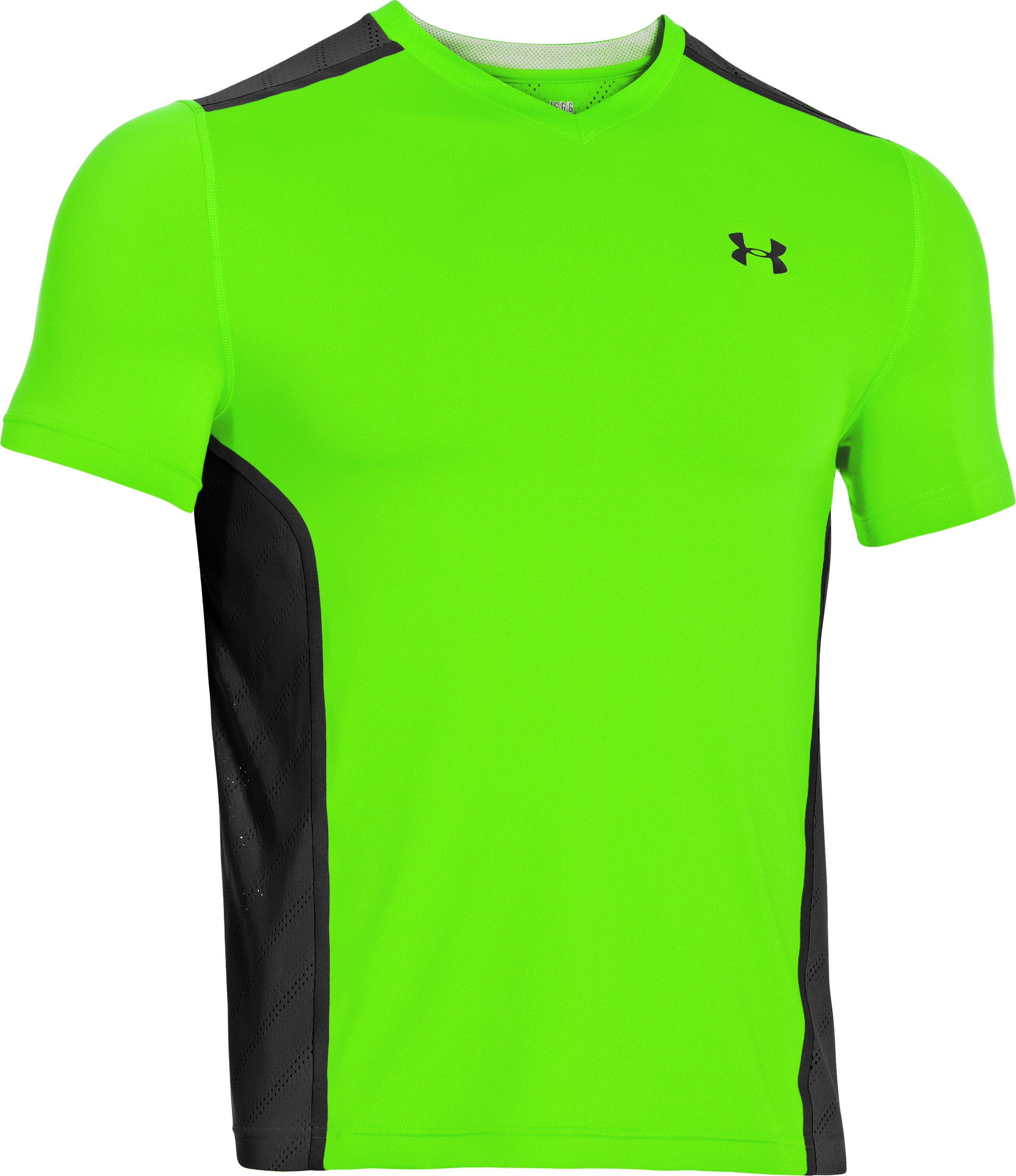 Men's HeatGear® ArmourVent™ Fitted Short Sleeve, HYPER GREEN, undefined