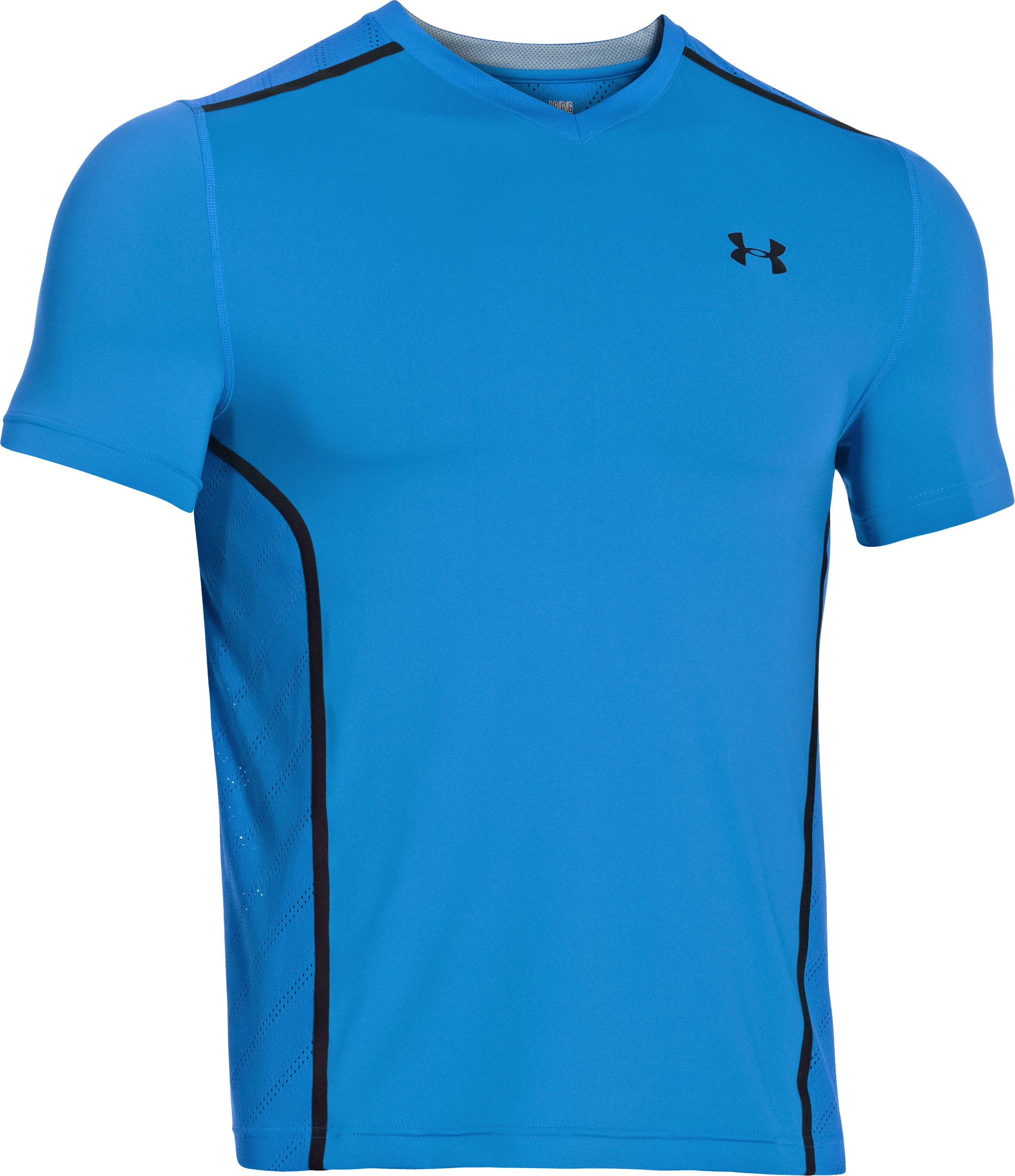 Men's HeatGear® ArmourVent™ Fitted Short Sleeve, ELECTRIC BLUE