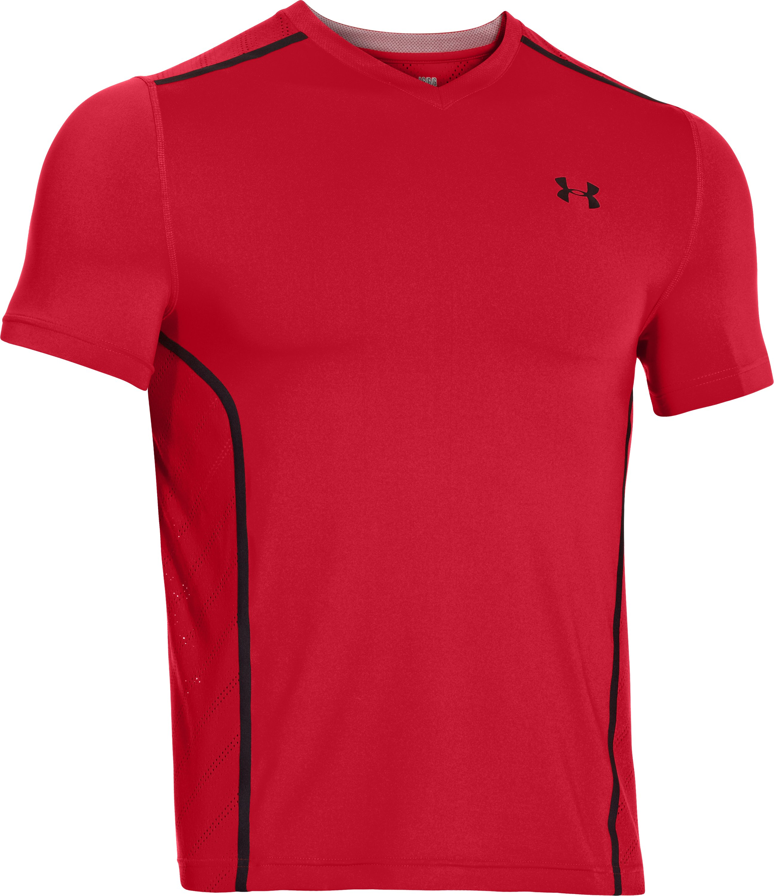 Men's HeatGear® ArmourVent™ Fitted Short Sleeve, Red