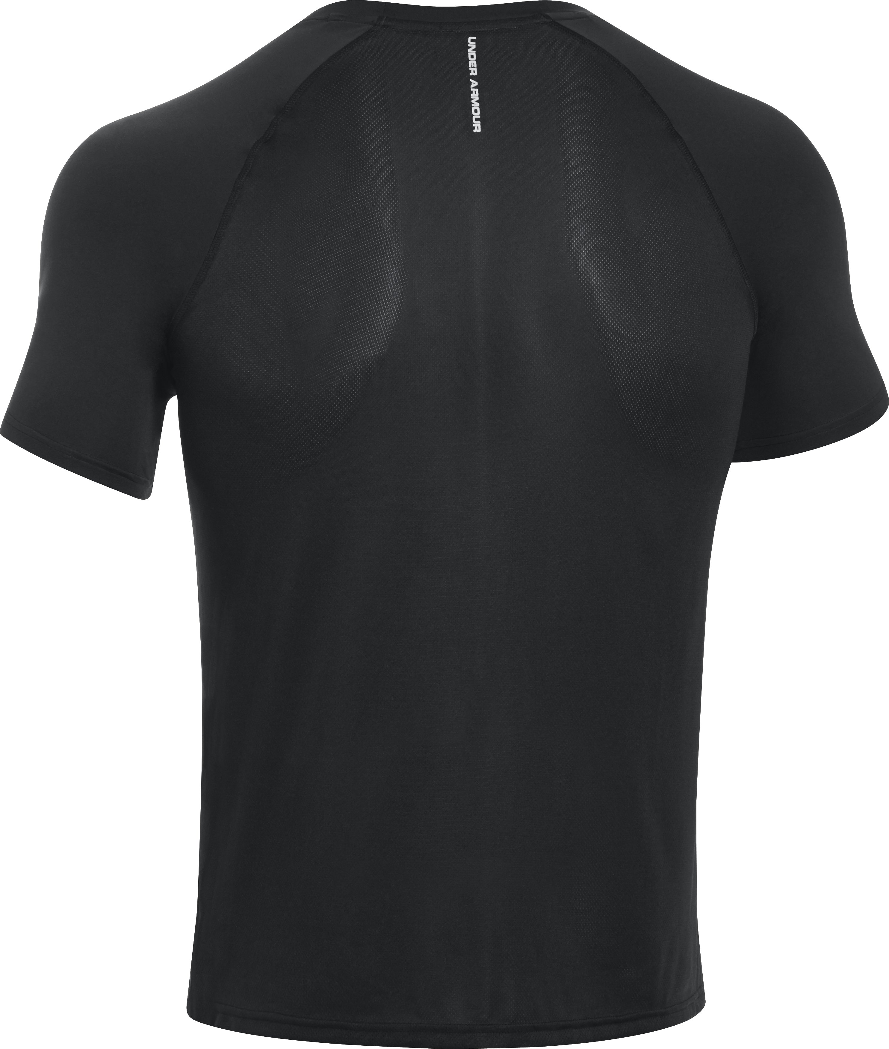 Men's HeatGear® Flyweight Run Short Sleeve, Black