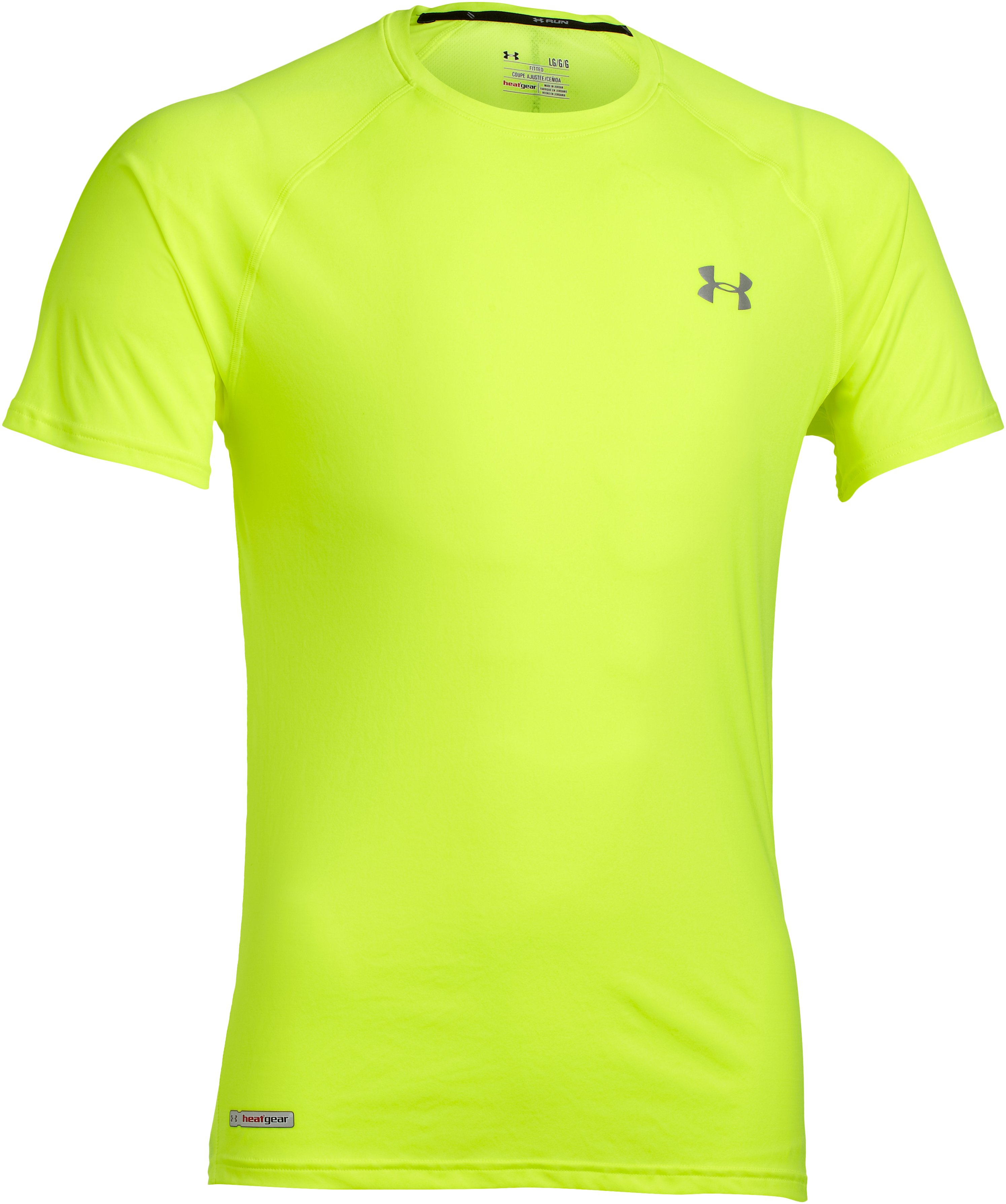 Men's HeatGear® Flyweight Run Short Sleeve, High-Vis Yellow