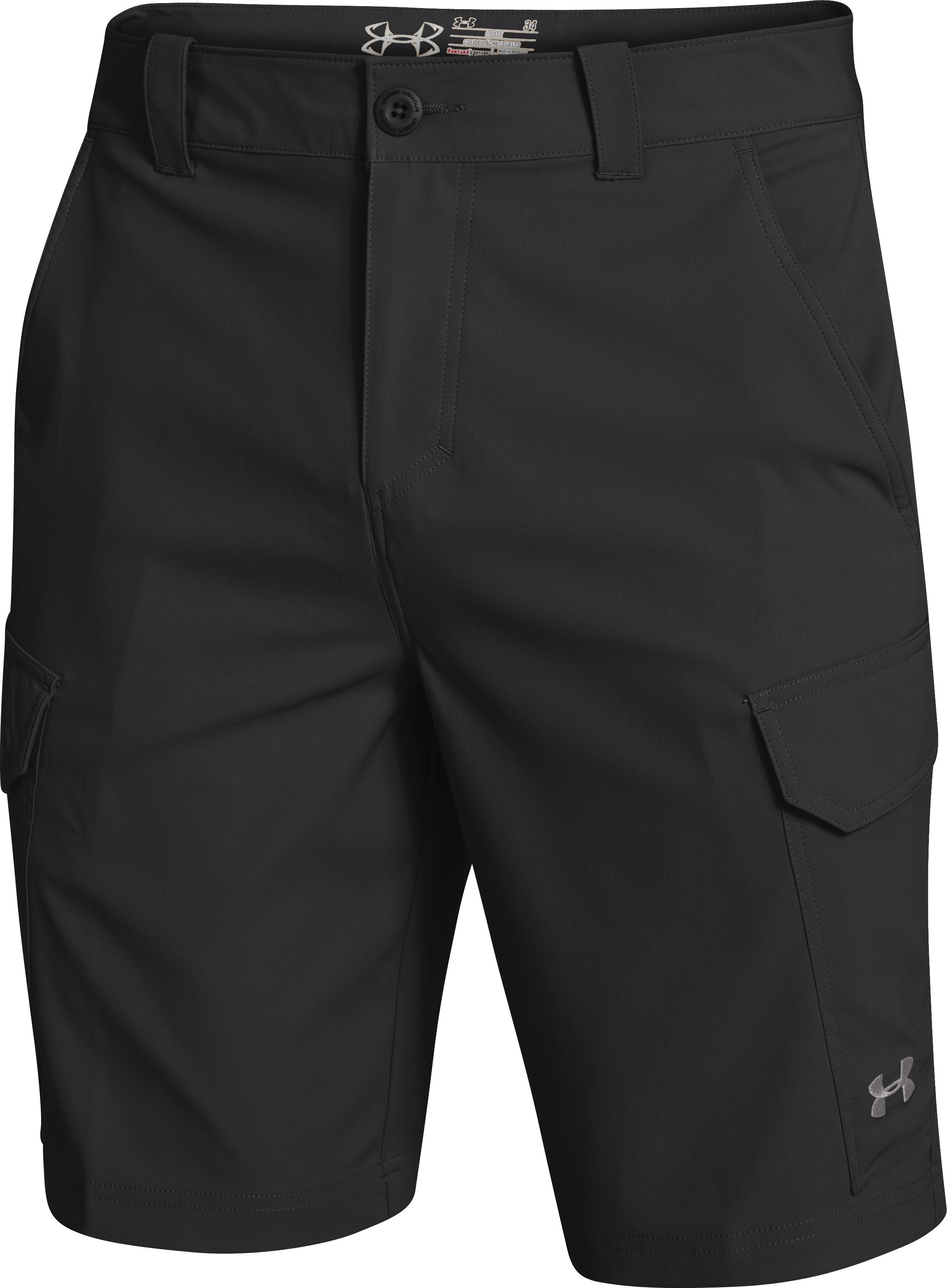 Men's UA Fish Hunter Cargo Shorts, Black ,