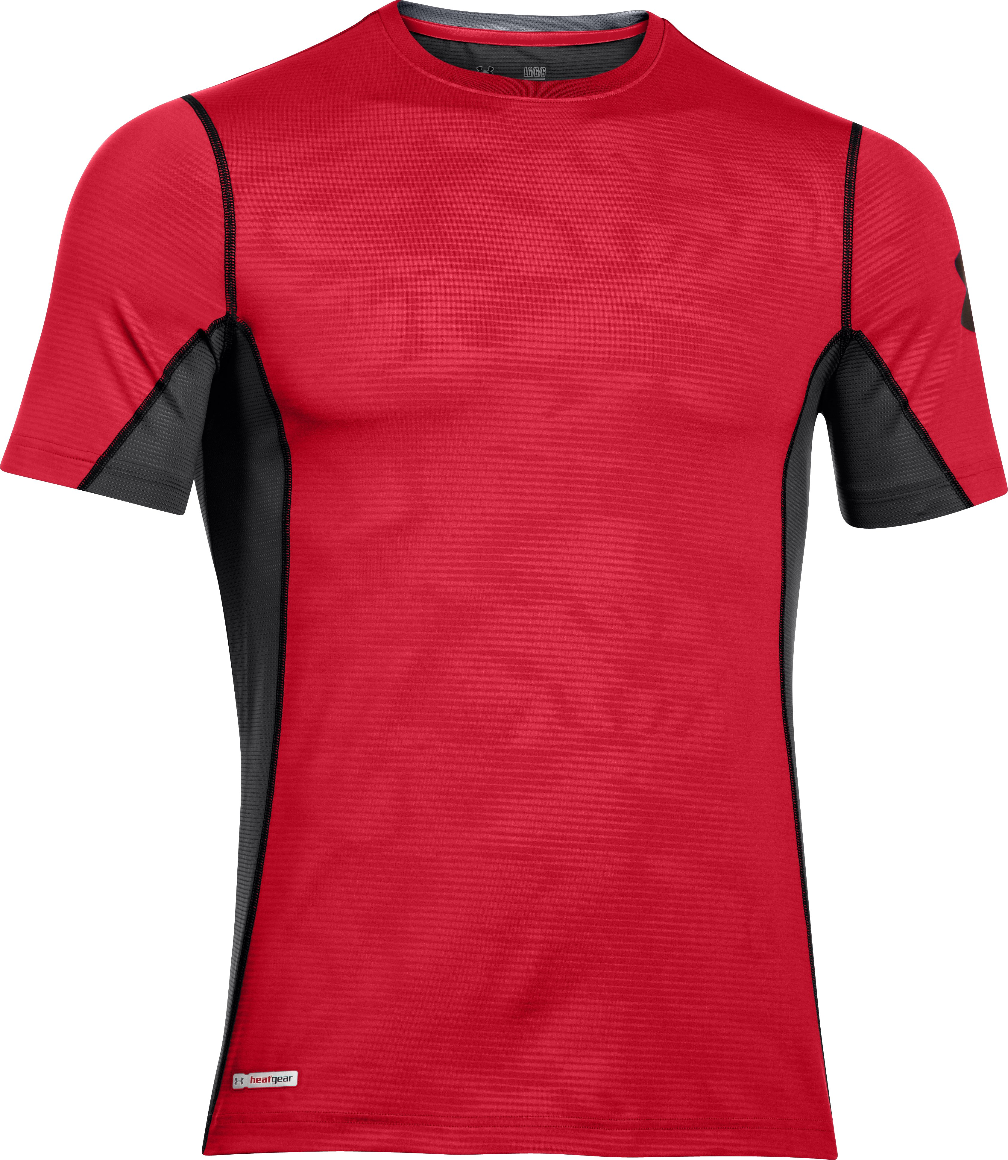 Men's HeatGear® Sonic Fitted Printed Short Sleeve, Red