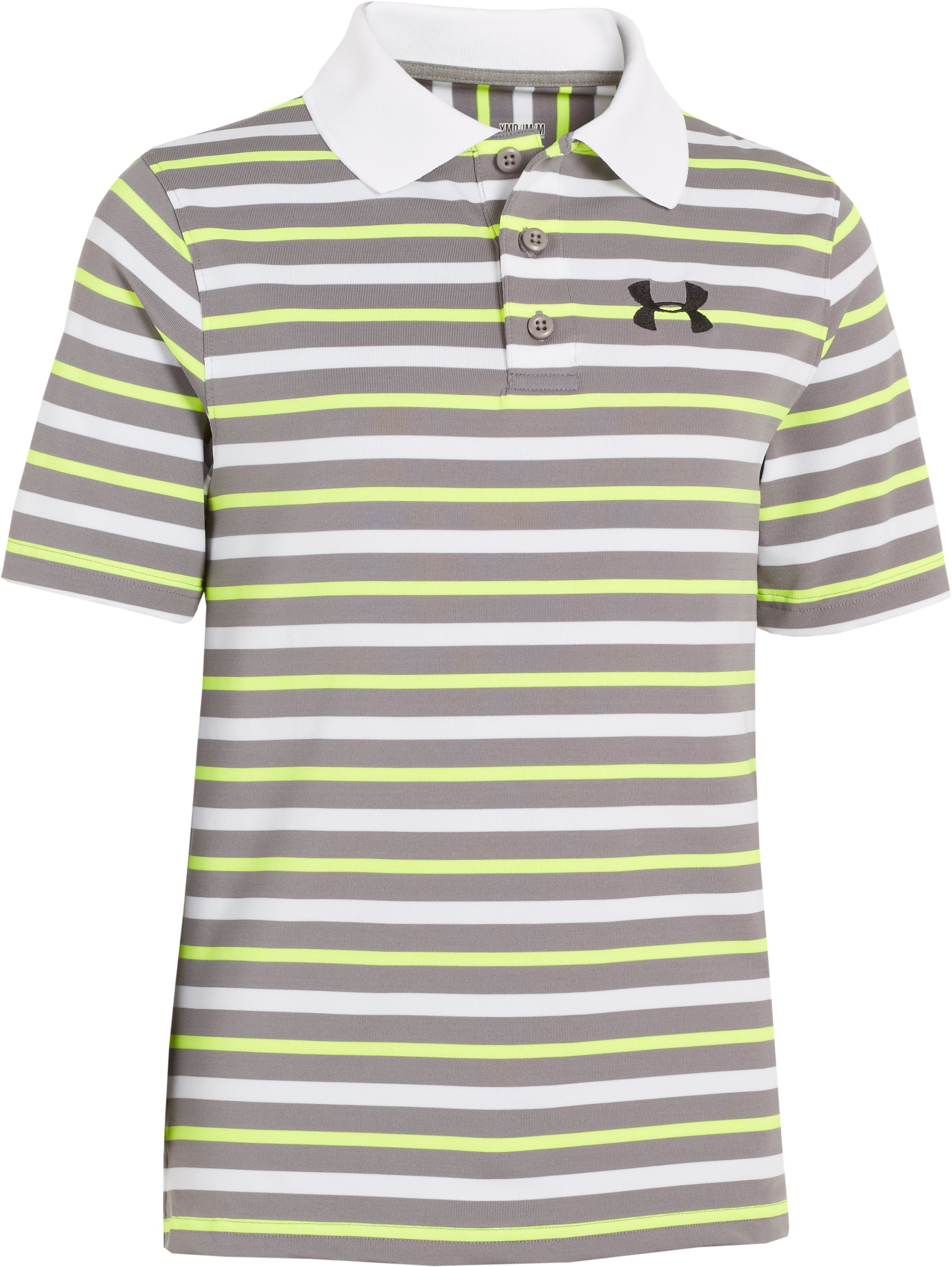 Boys' UA Classic Stripe Polo, White, undefined