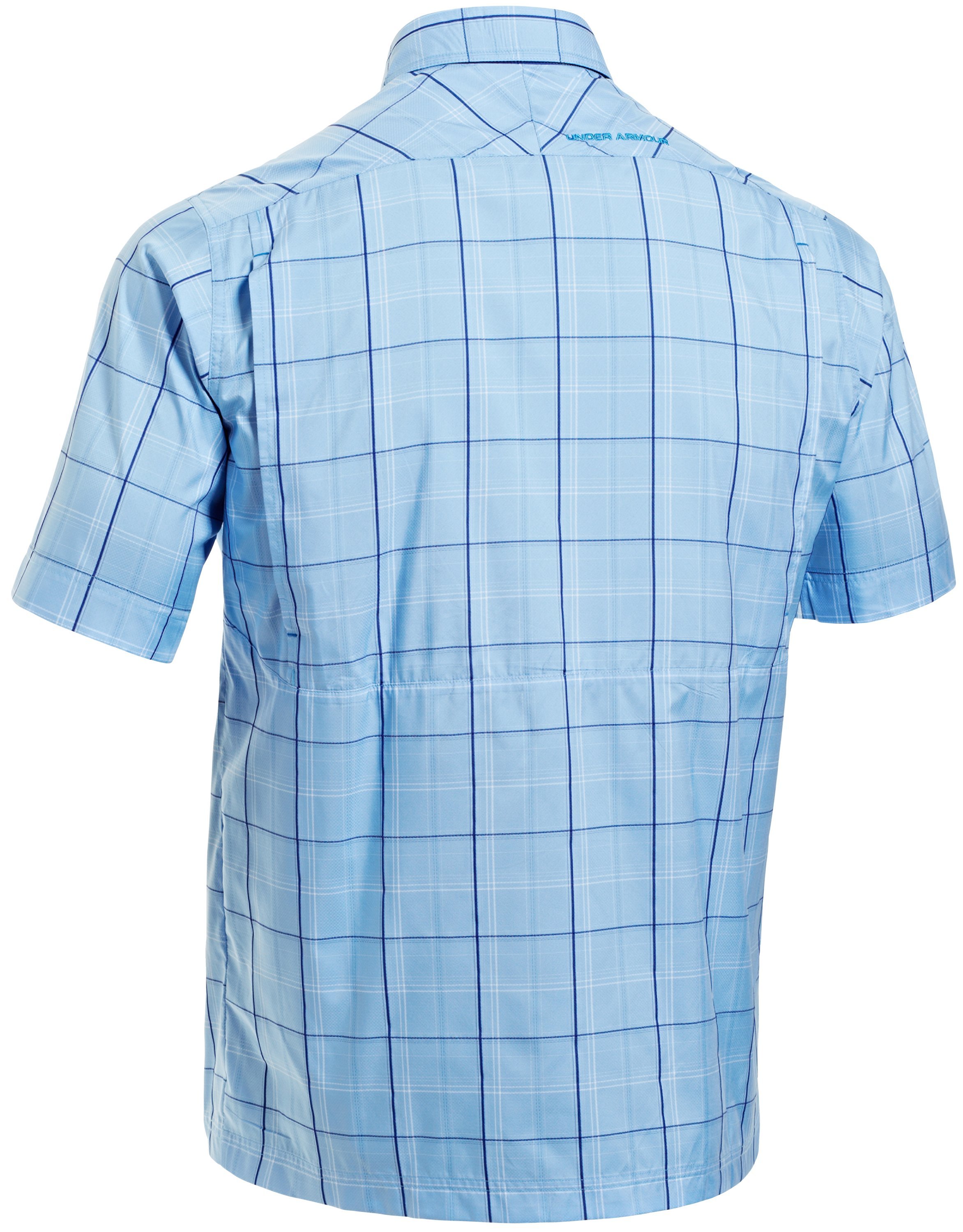 Men's UA Flats Guide Plaid Short Sleeve Shirt, Carolina Blue