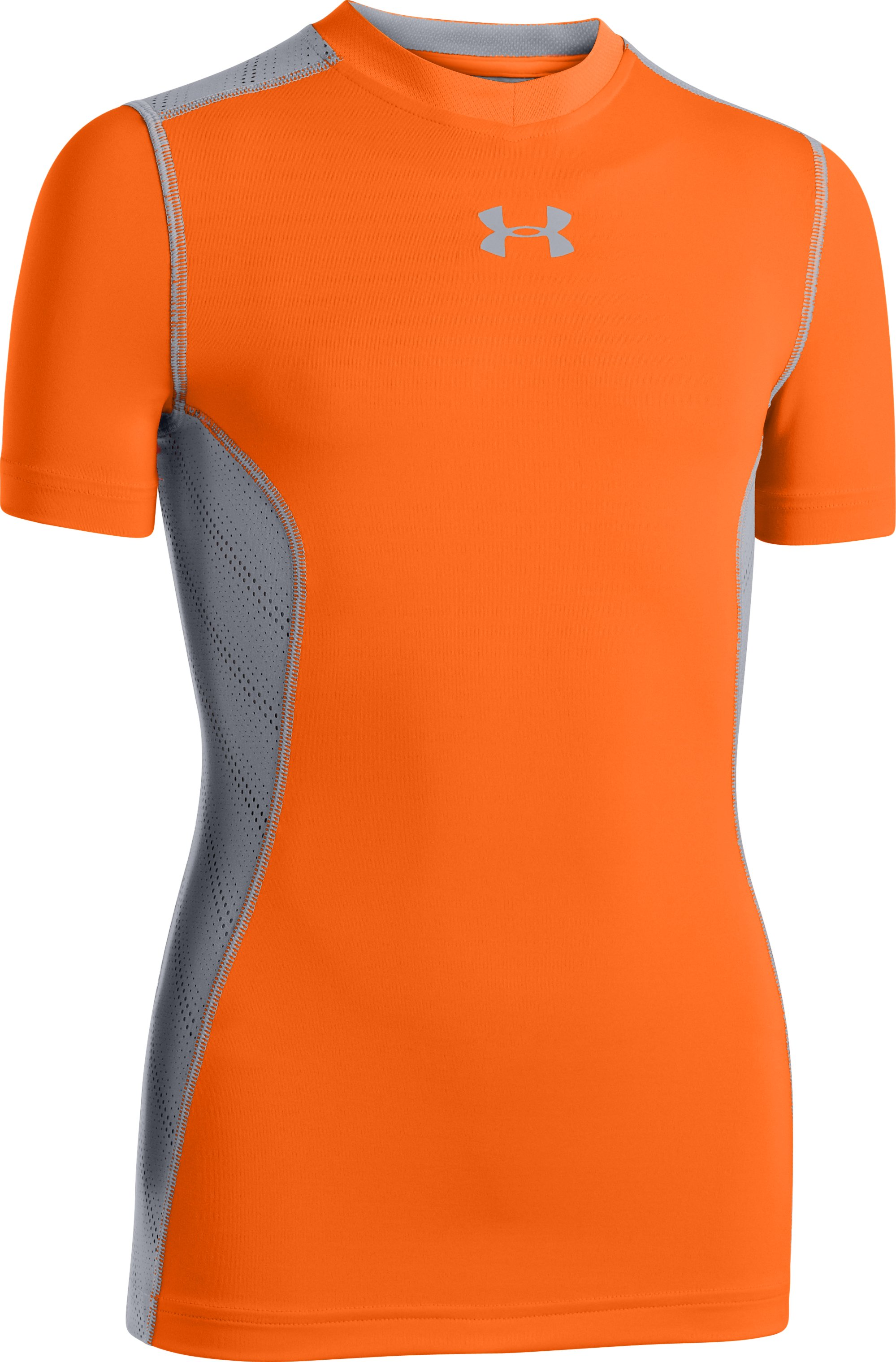 Boys' HeatGear® Sonic ArmourVent™ Short Sleeve, Blaze Orange