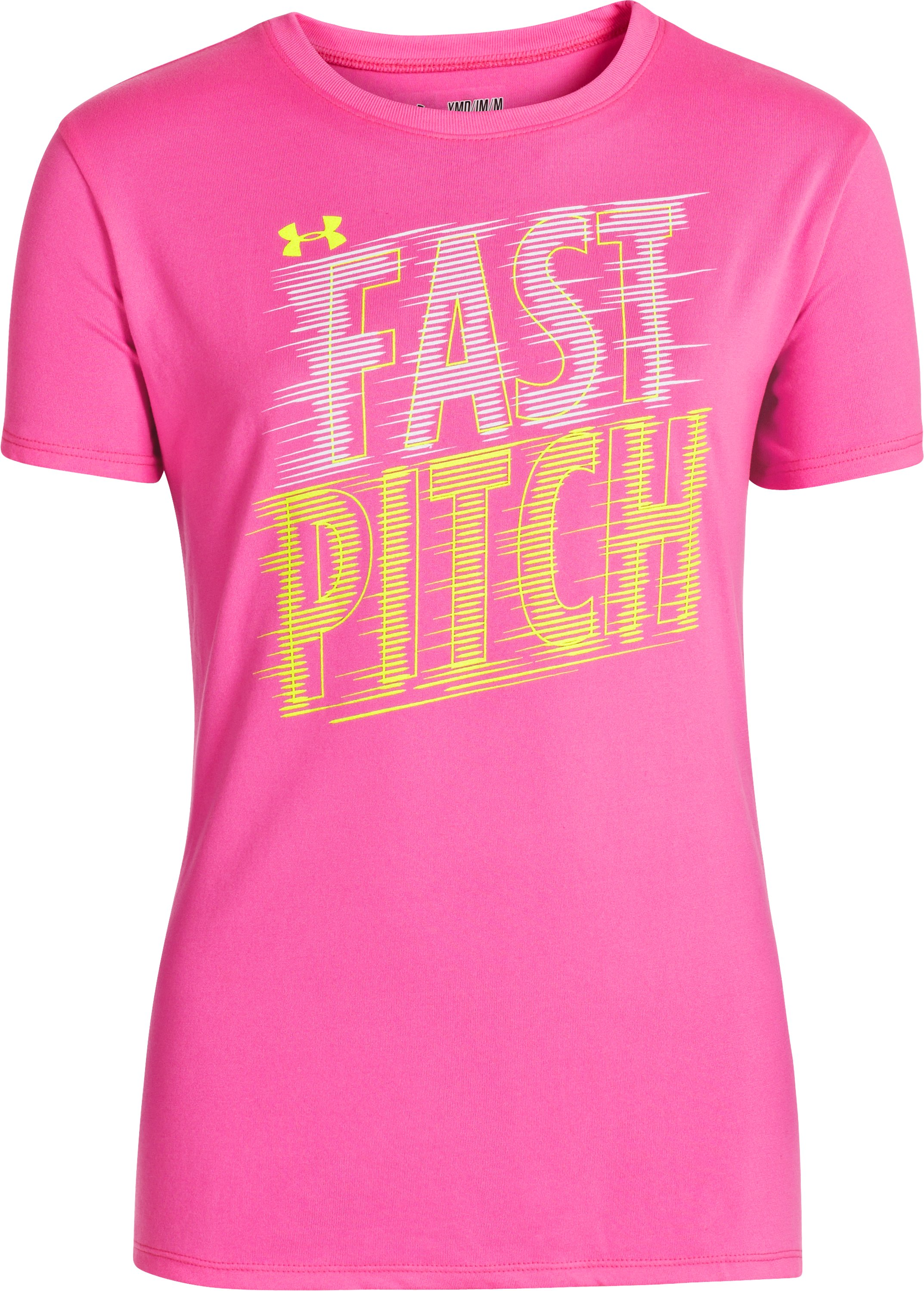 Girls' UA Fast Pitch T-Shirt, CHAOS, zoomed image