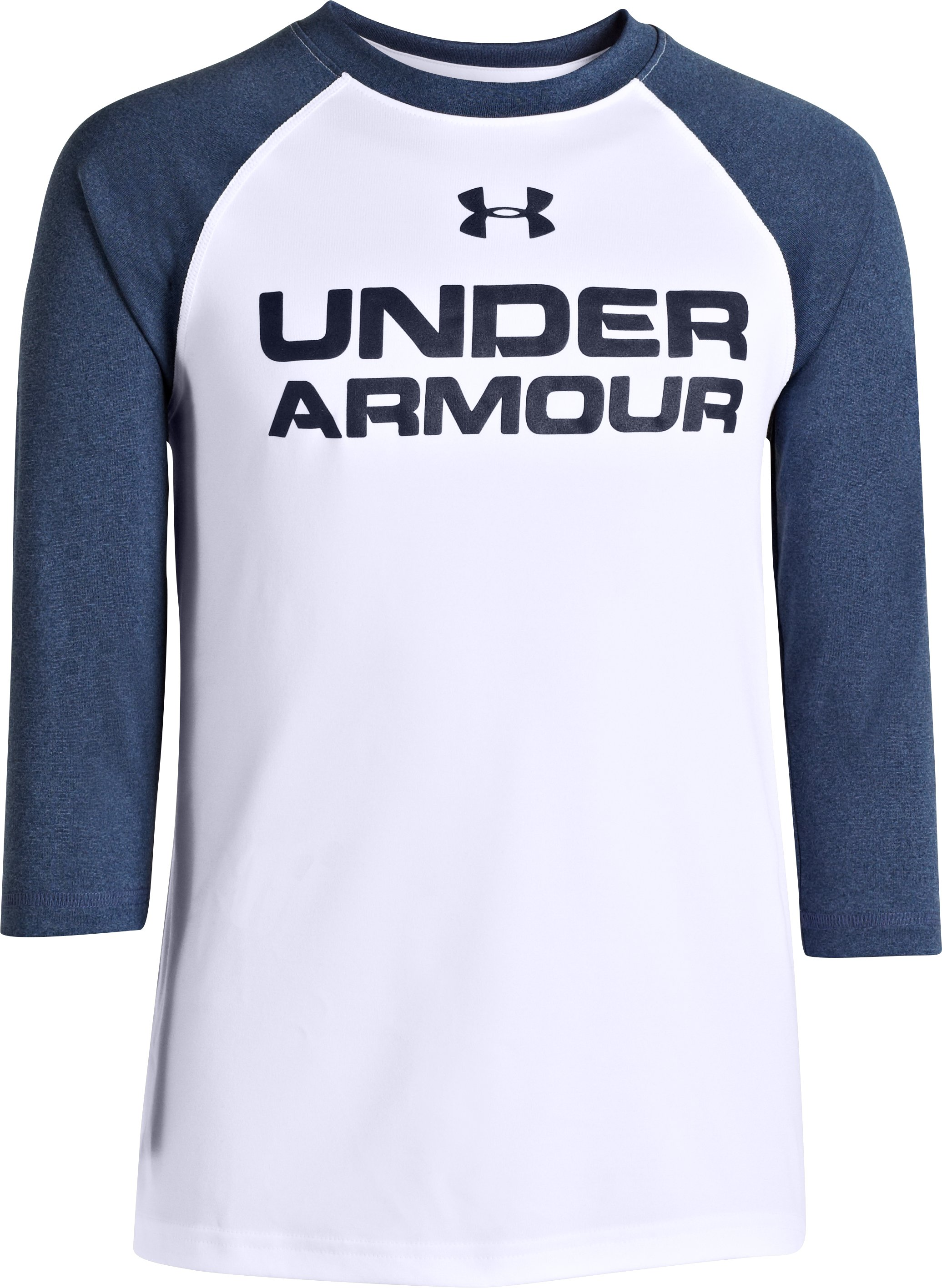 Boys' UA Tech™ ¾ Sleeve T-Shirt, White, zoomed image