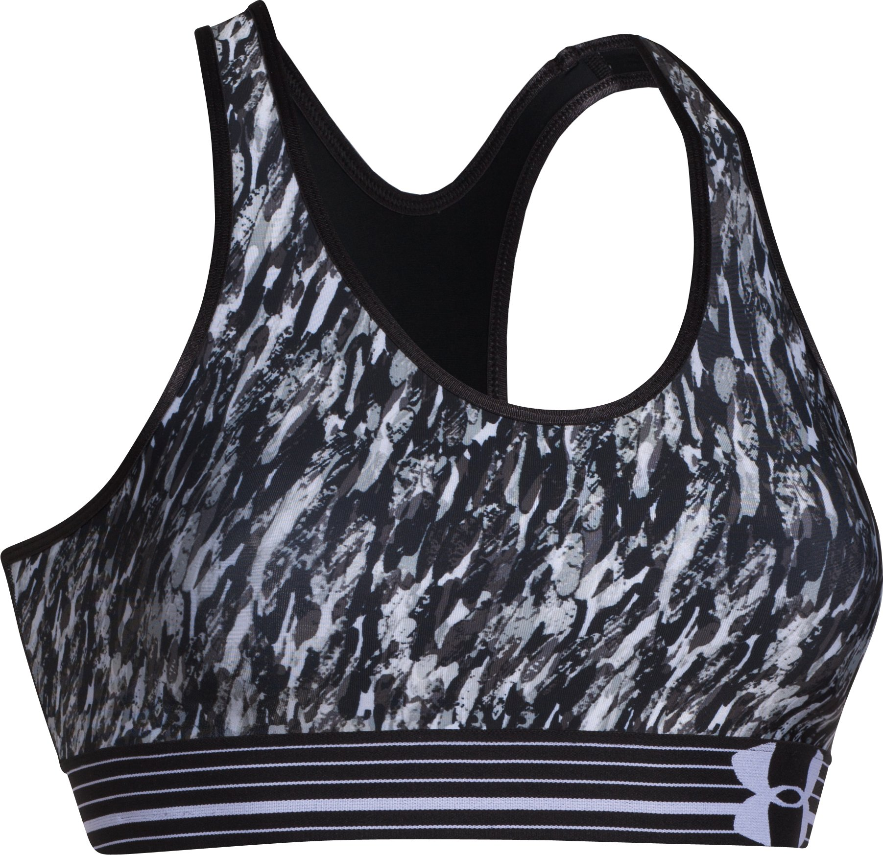 Women's Armour® Mid Printed Sports Bra, Black