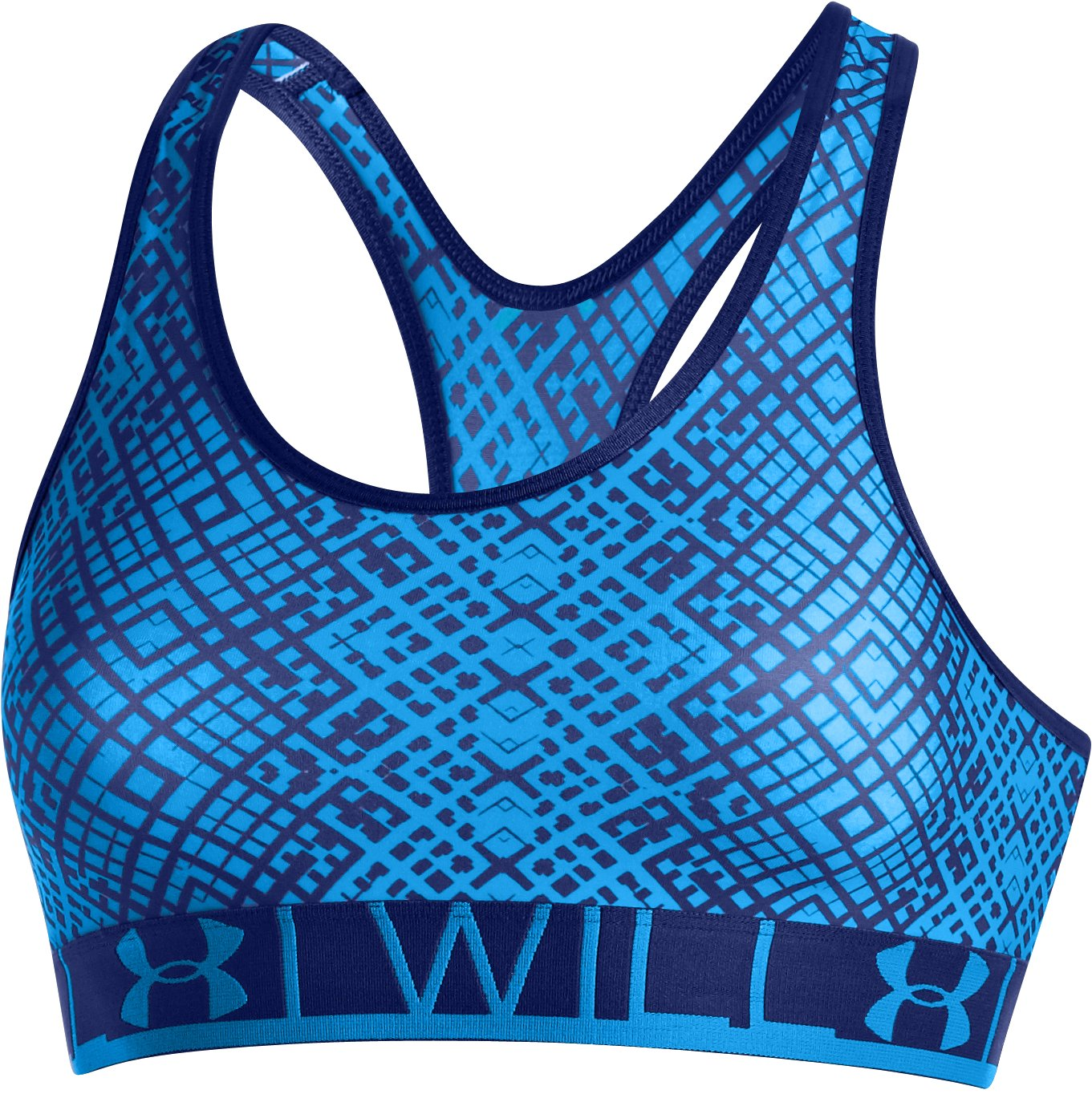 Women's UA HeatGear® Armour Printed Sports Bra, ELECTRIC BLUE