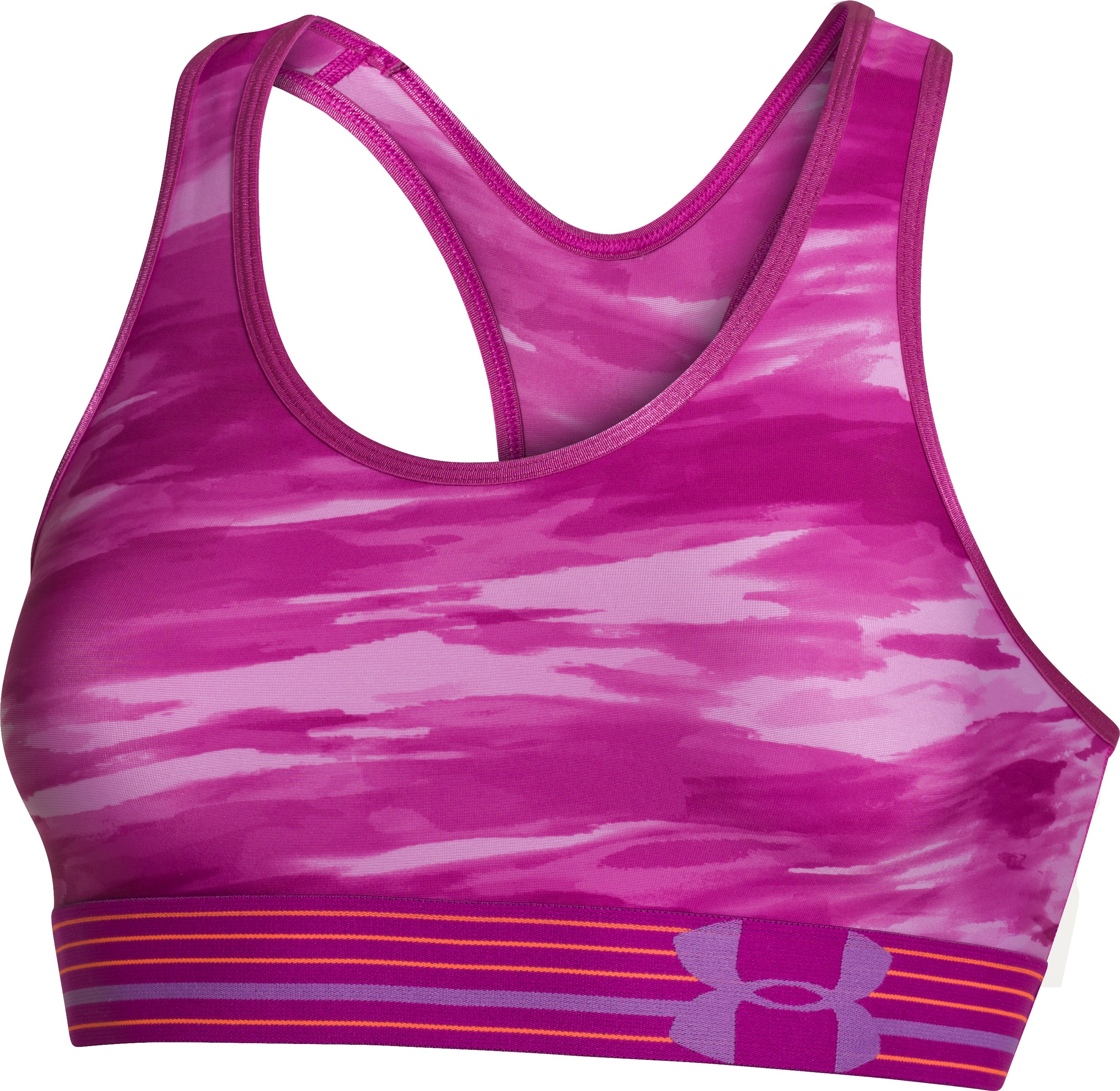 Women's Armour® Mid Printed Sports Bra, MAGENTA SHOCK
