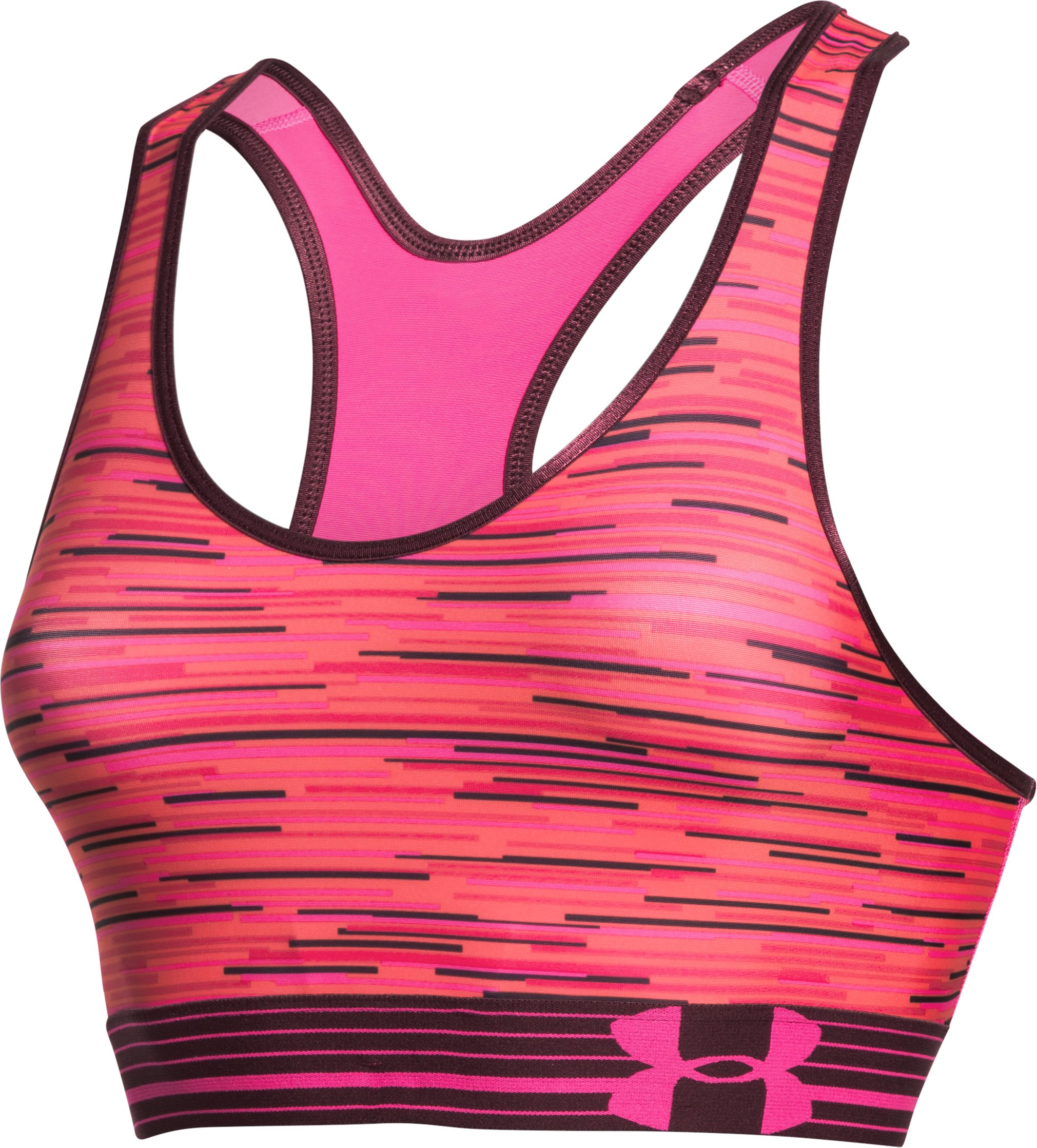 Women's Armour® Mid Printed Sports Bra, REBEL PINK, undefined