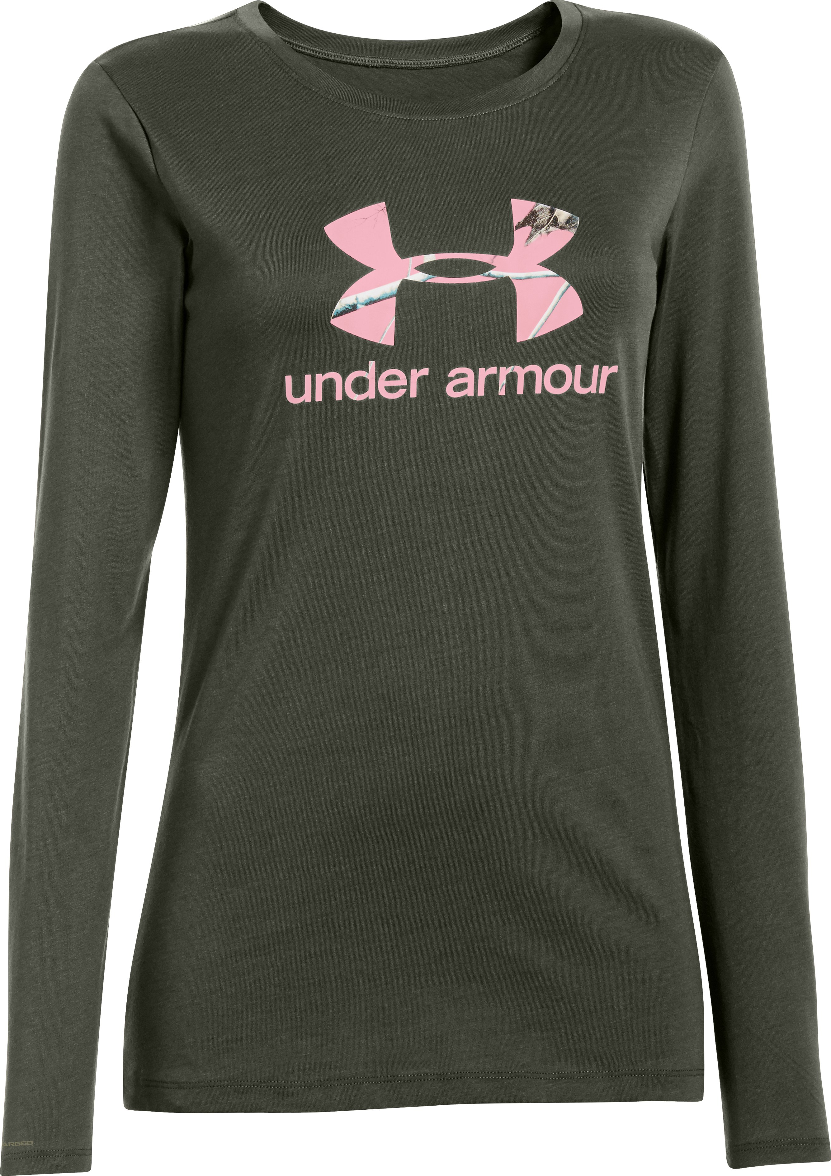 Women's UA Big Logo Camo Long Sleeve, Rifle Green