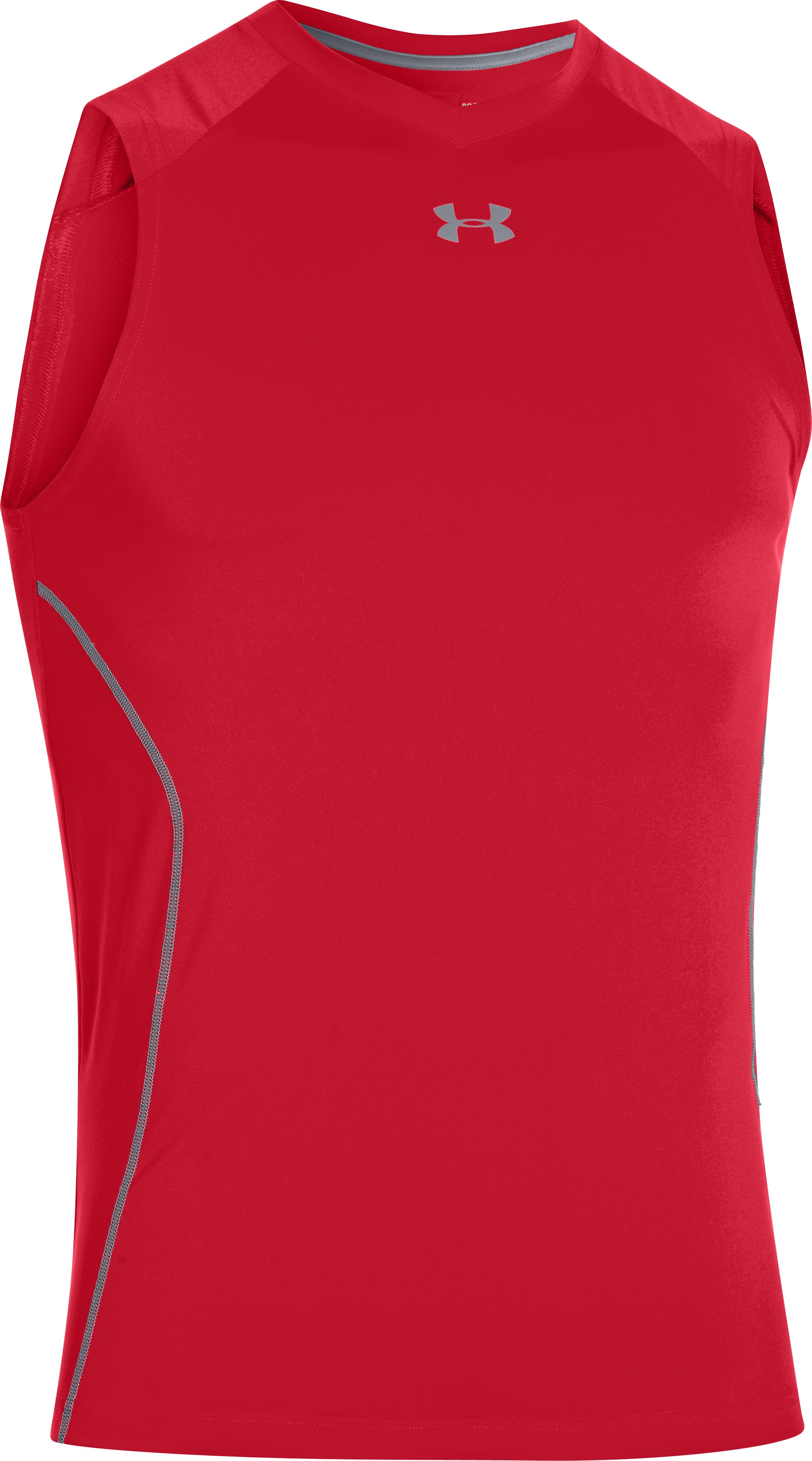 Men's HeatGear® Sonic Fitted Tank, Red, undefined