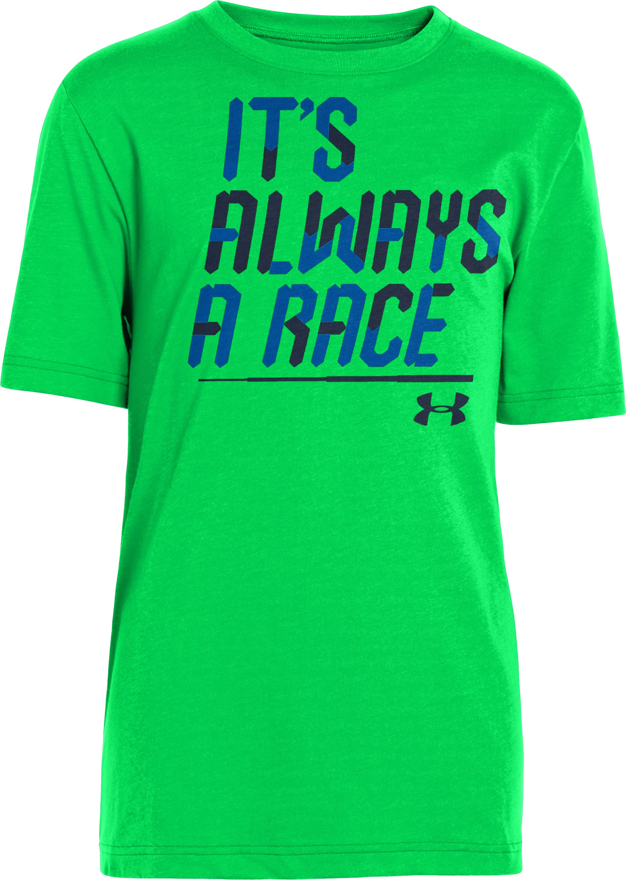 Boys' UA Always A Race UPF T-Shirt, GREEN ENERGY, zoomed image