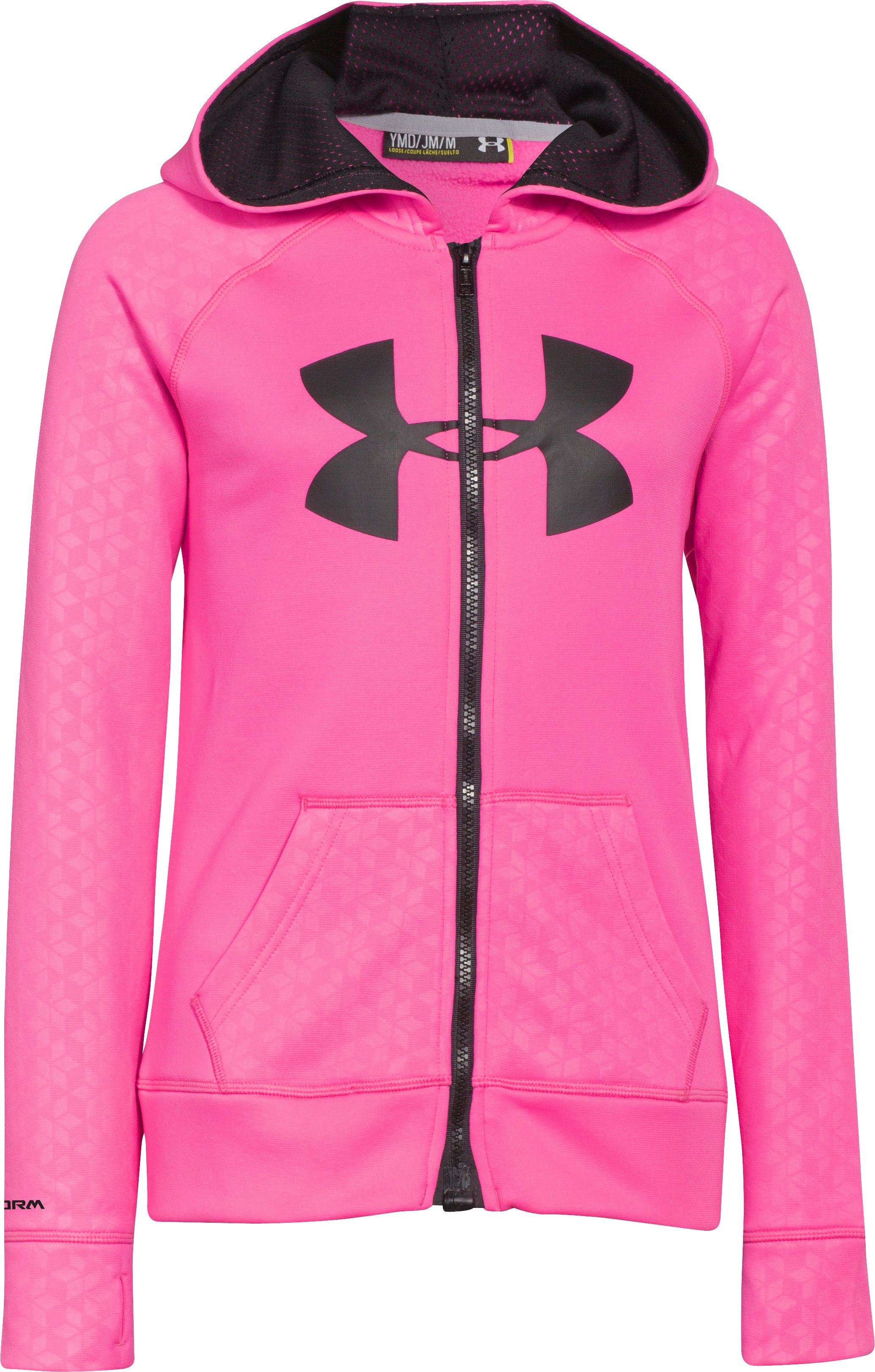 Girls' UA Storm Armour® Fleece Big Logo MagZip Hoodie, CHAOS, zoomed image