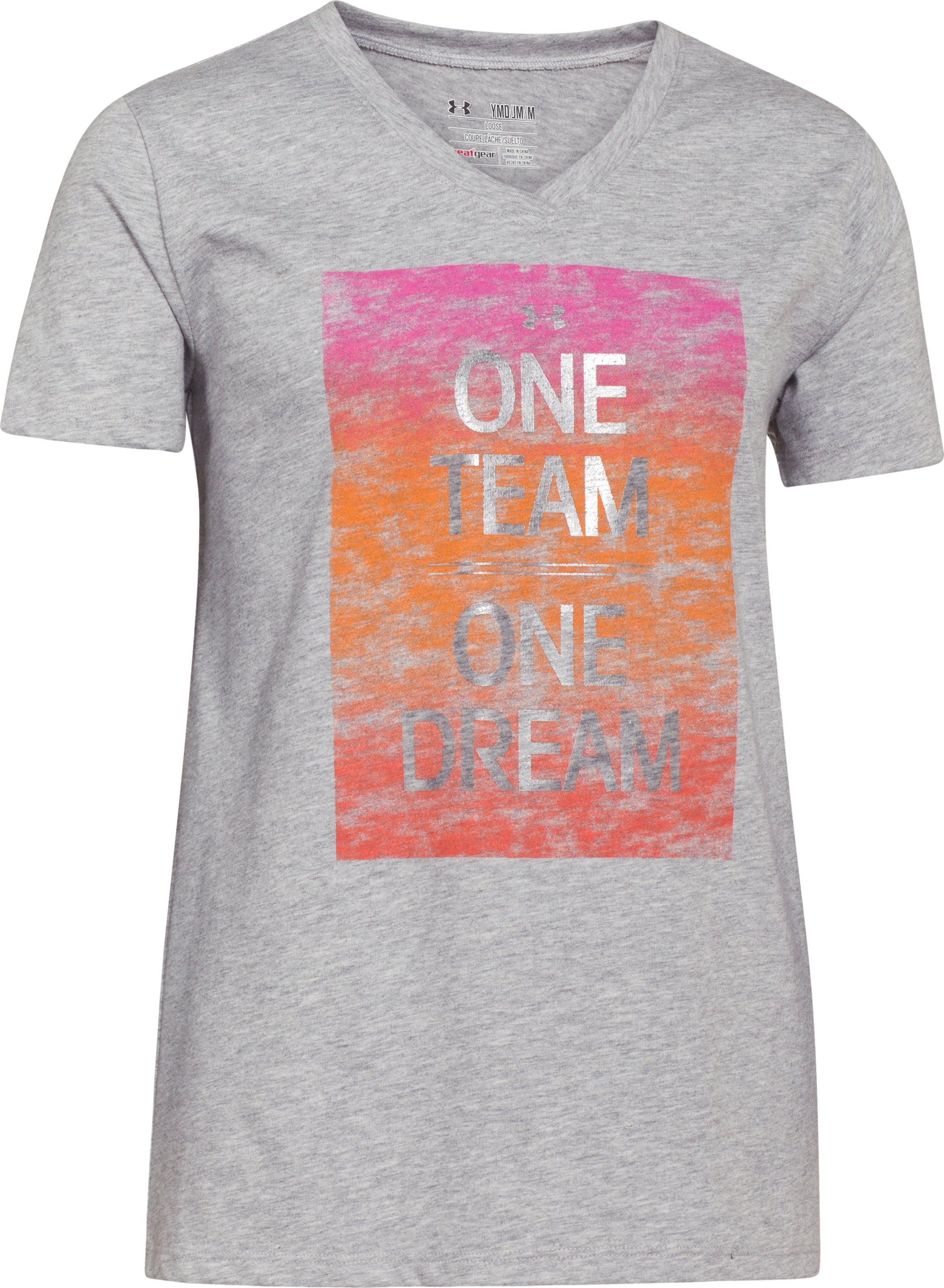 Girls' One Team T-Shirt, True Gray Heather, zoomed image