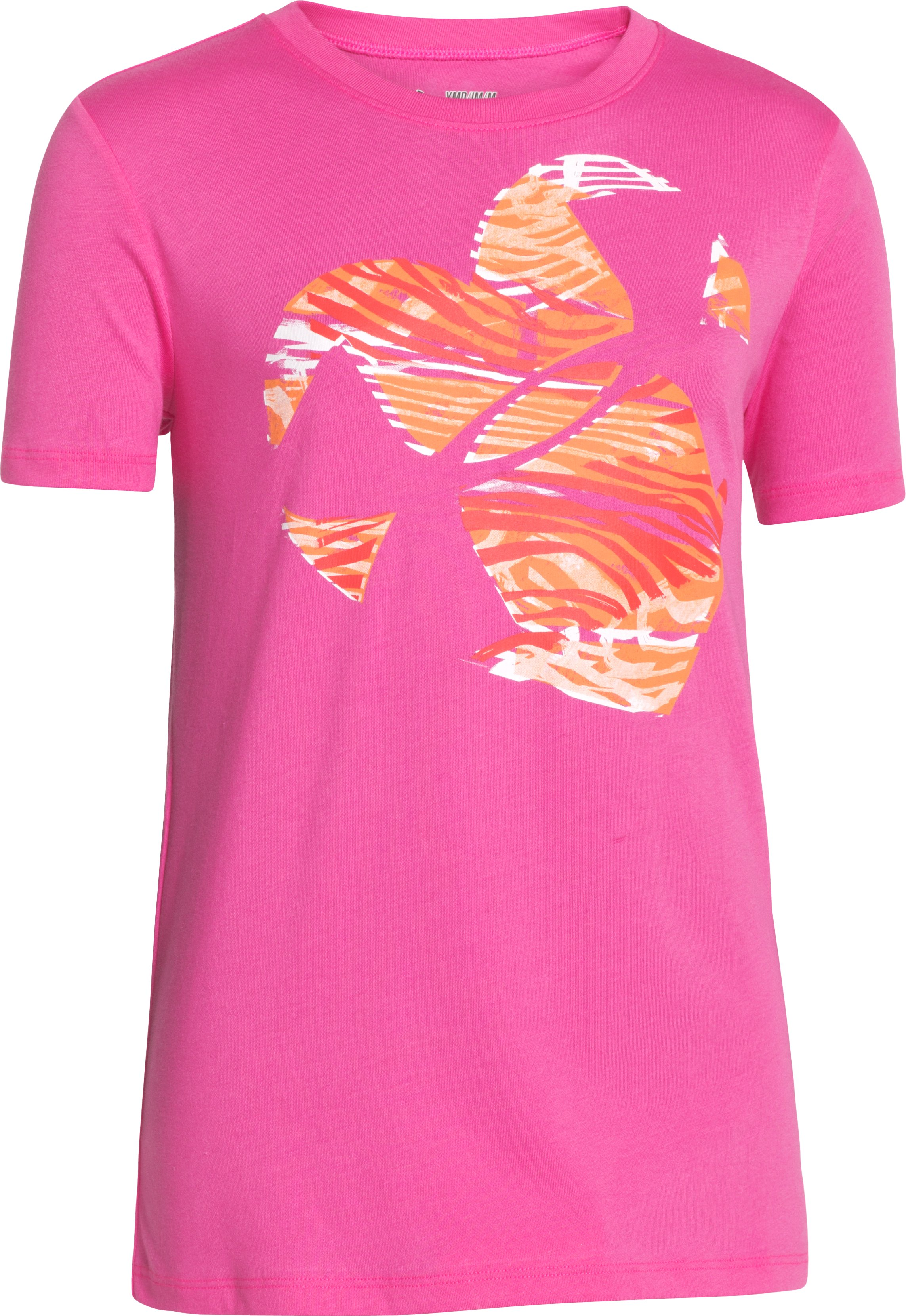Girls' UA Zebra Heart T-Shirt, CHAOS, zoomed image