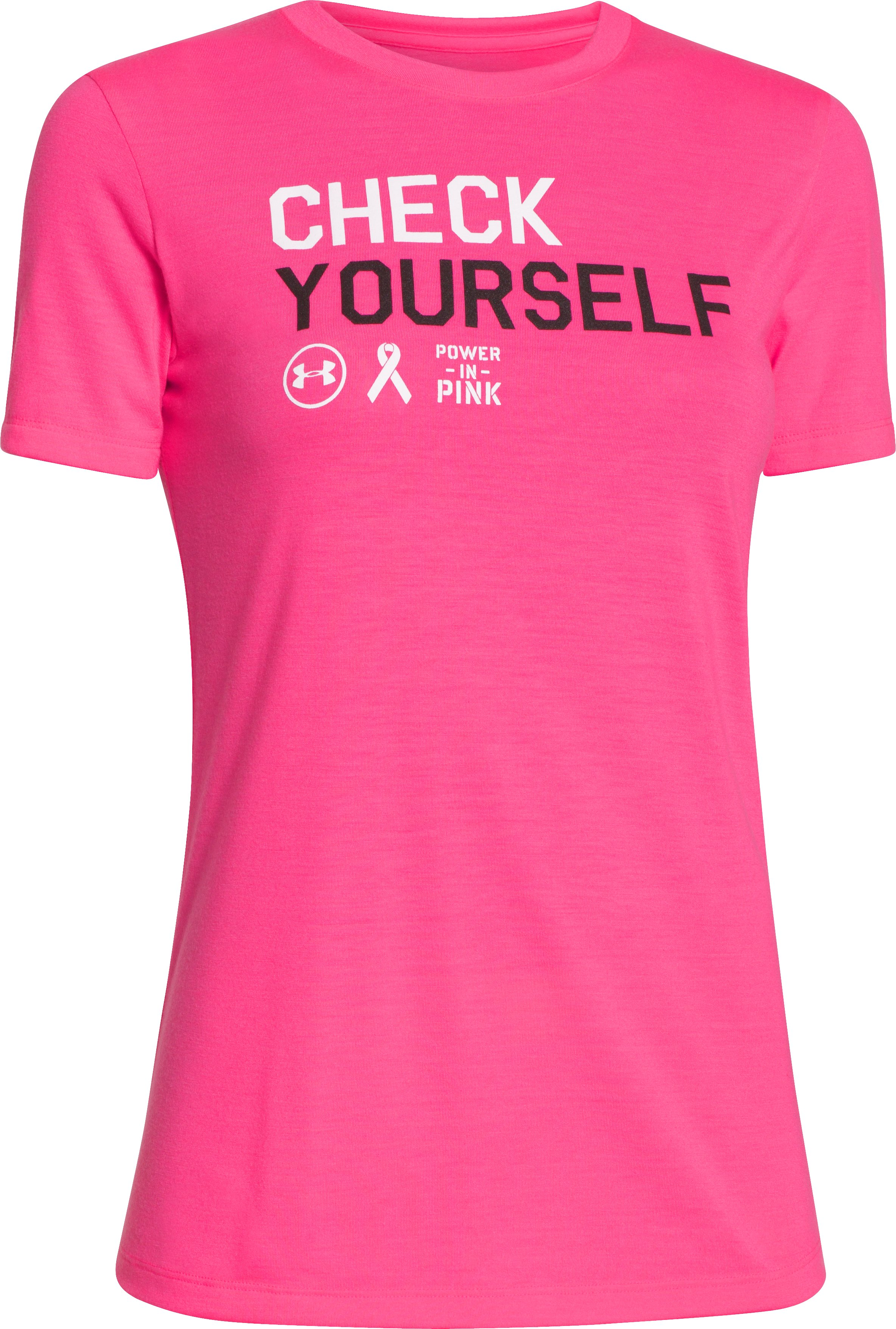 Women's UA Power In Pink® Check Yourself T-Shirt, Cerise, undefined