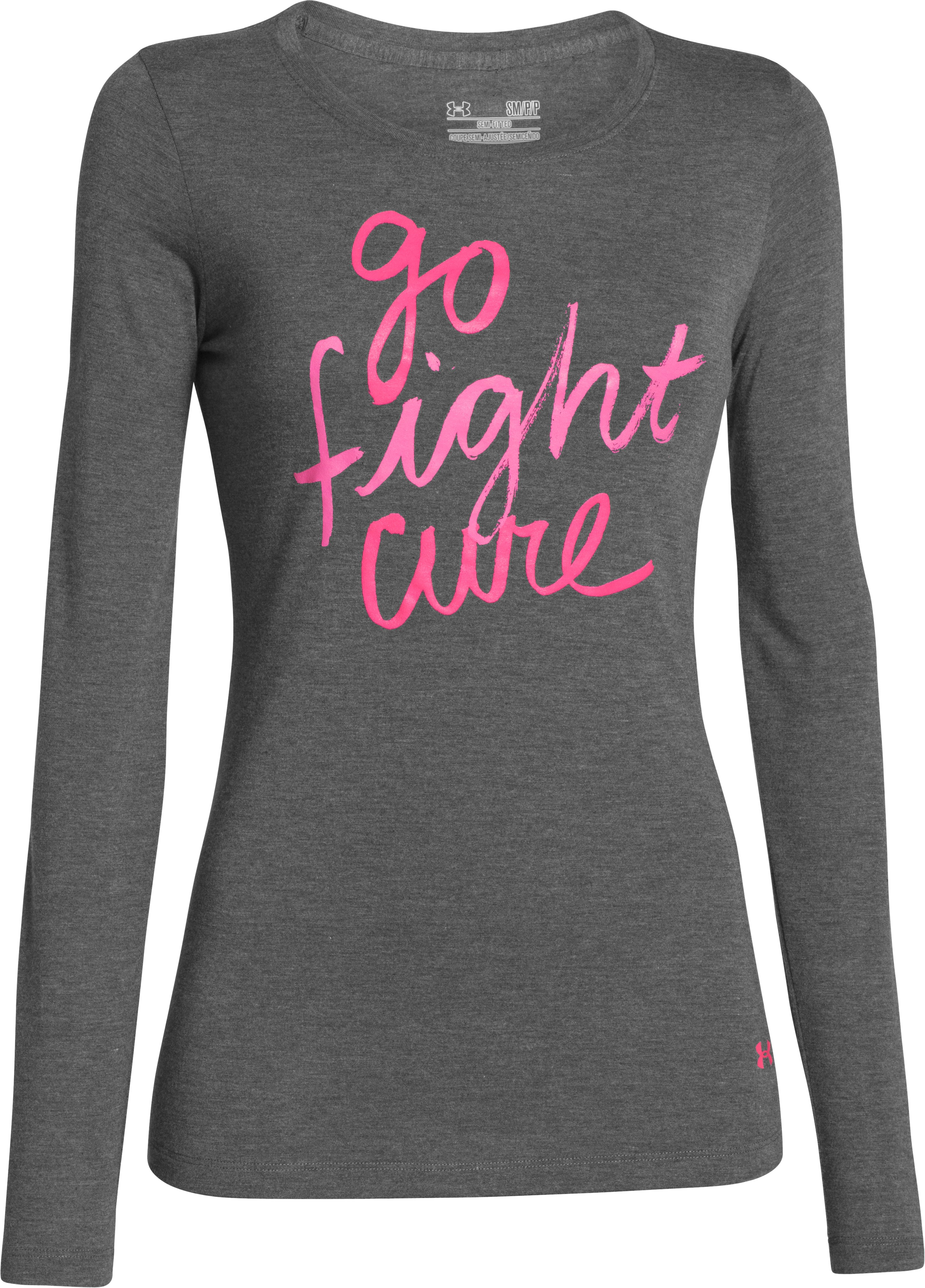 Women's UA Power In Pink® Go Fight Cure Long Sleeve, Carbon Heather, undefined