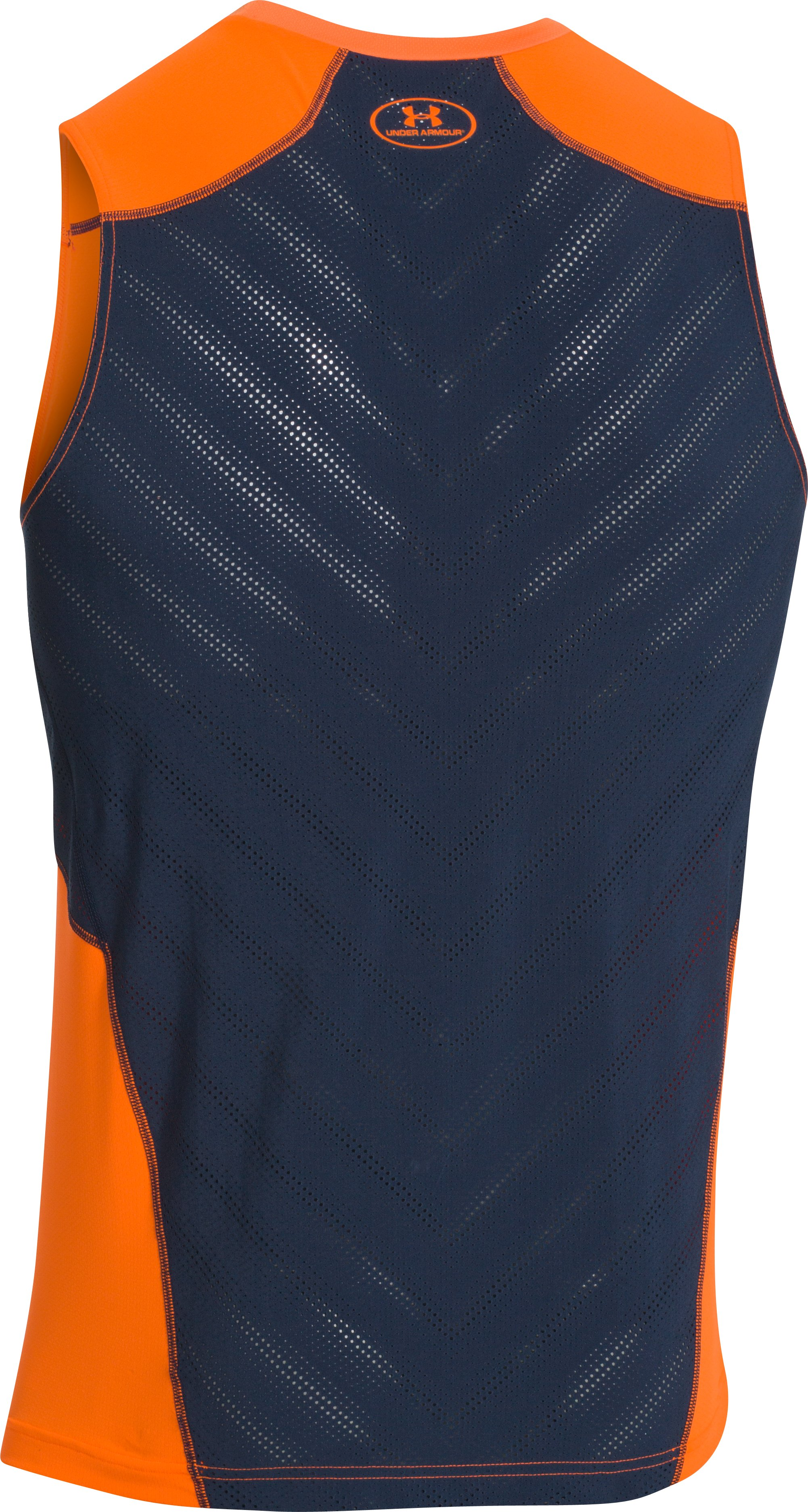 Men's UA HeatGear® ArmourVent™ Perf Fitted Tank, Blaze Orange
