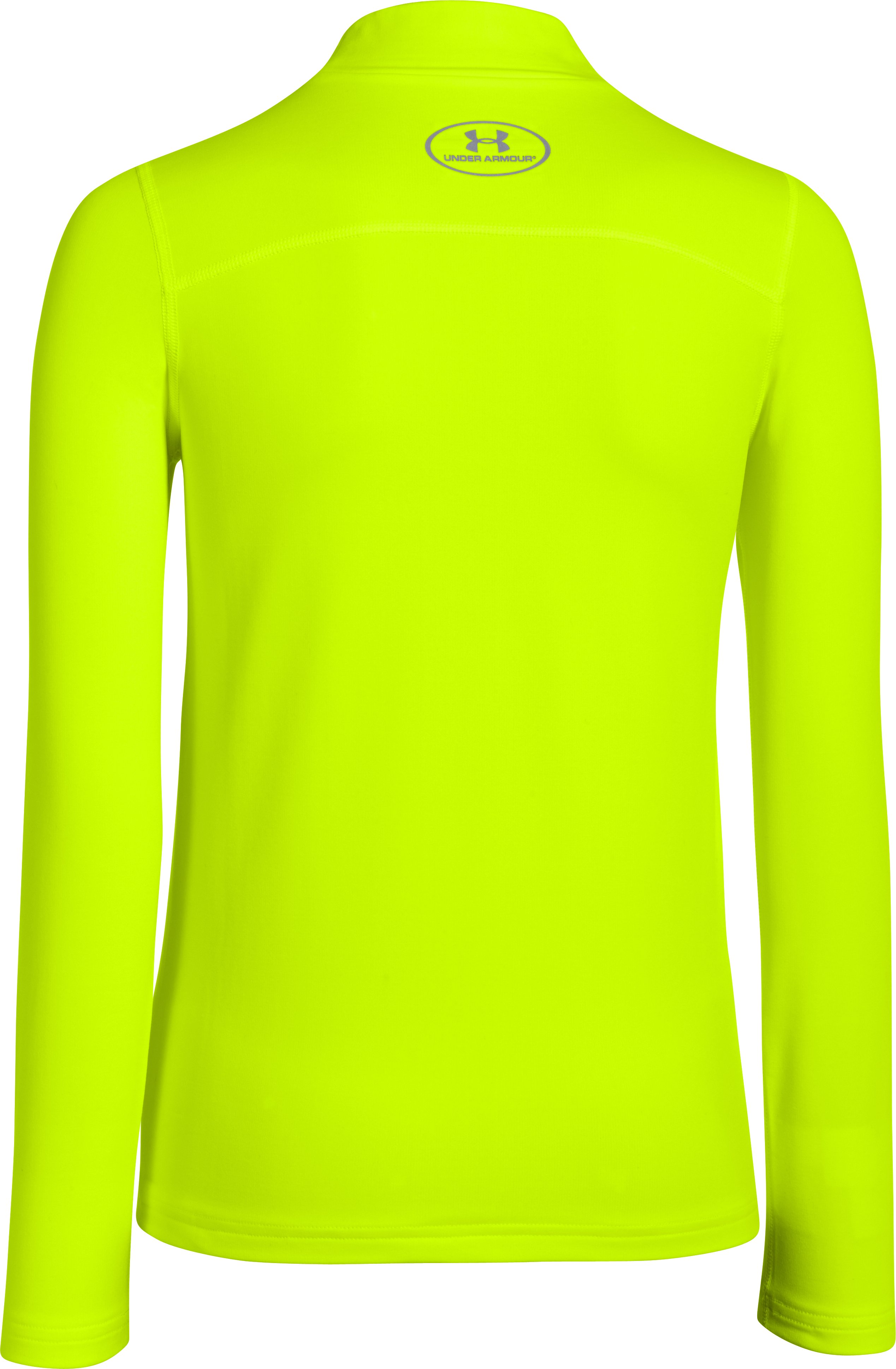 Boys' UA ColdGear® Armour Fitted Mock, High-Vis Yellow