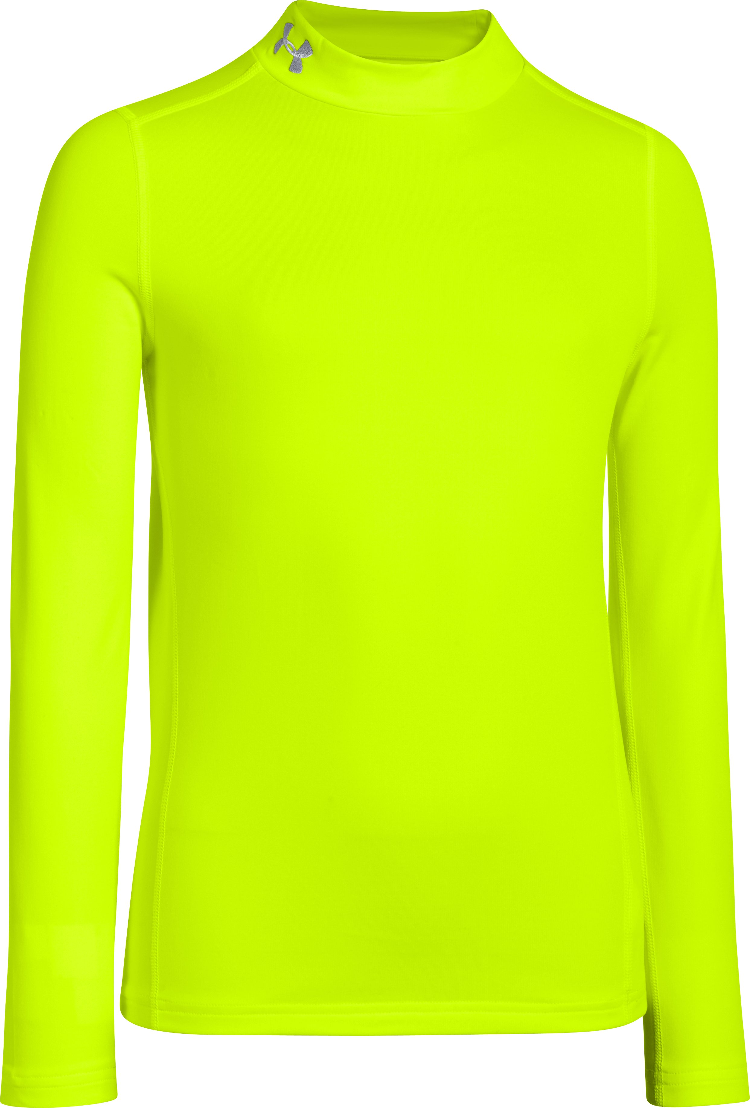 Boys' UA ColdGear® Armour Fitted Mock, High-Vis Yellow, zoomed image