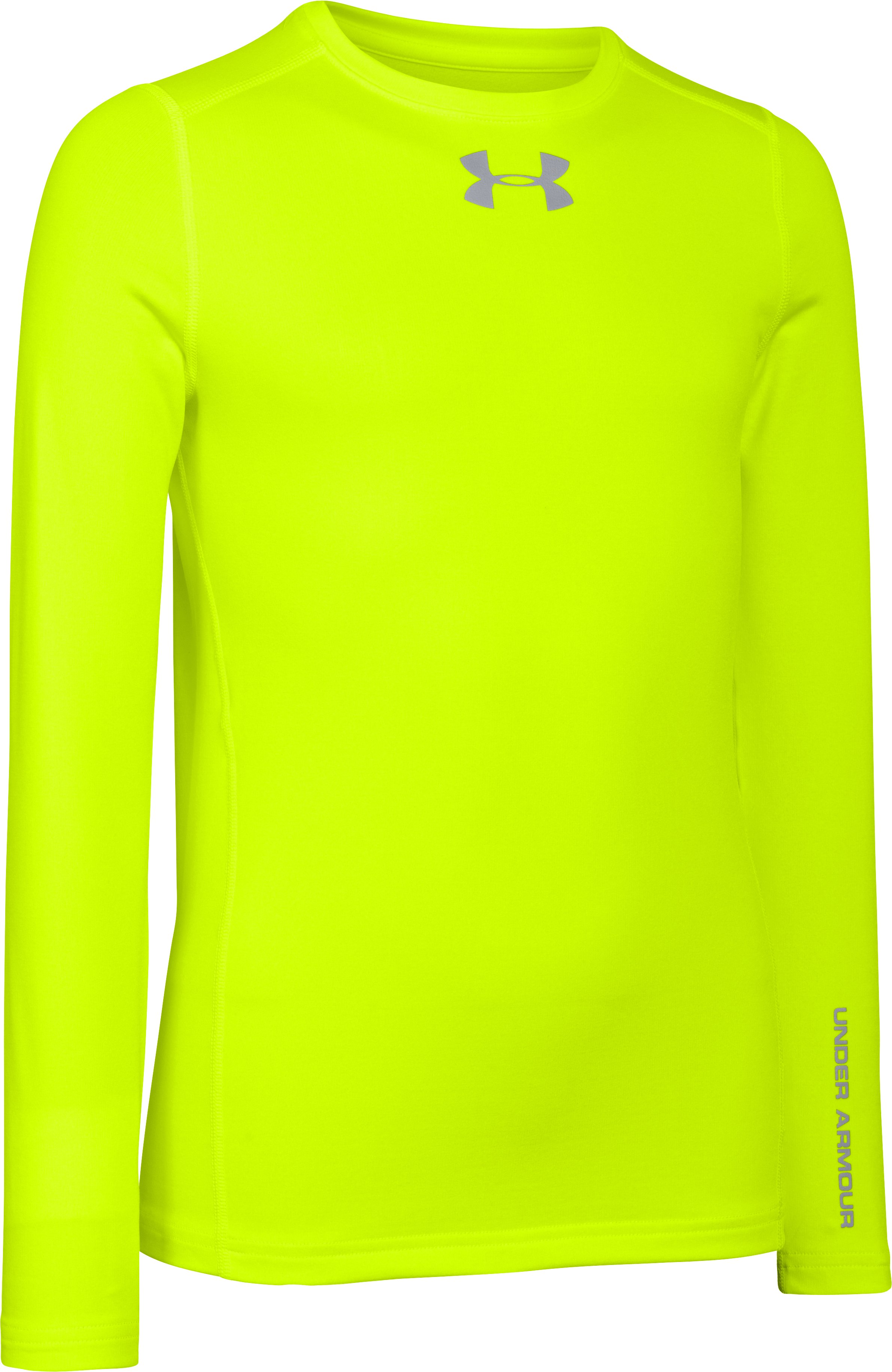 Boys' UA ColdGear® Armour Fitted Crew, High-Vis Yellow, zoomed image