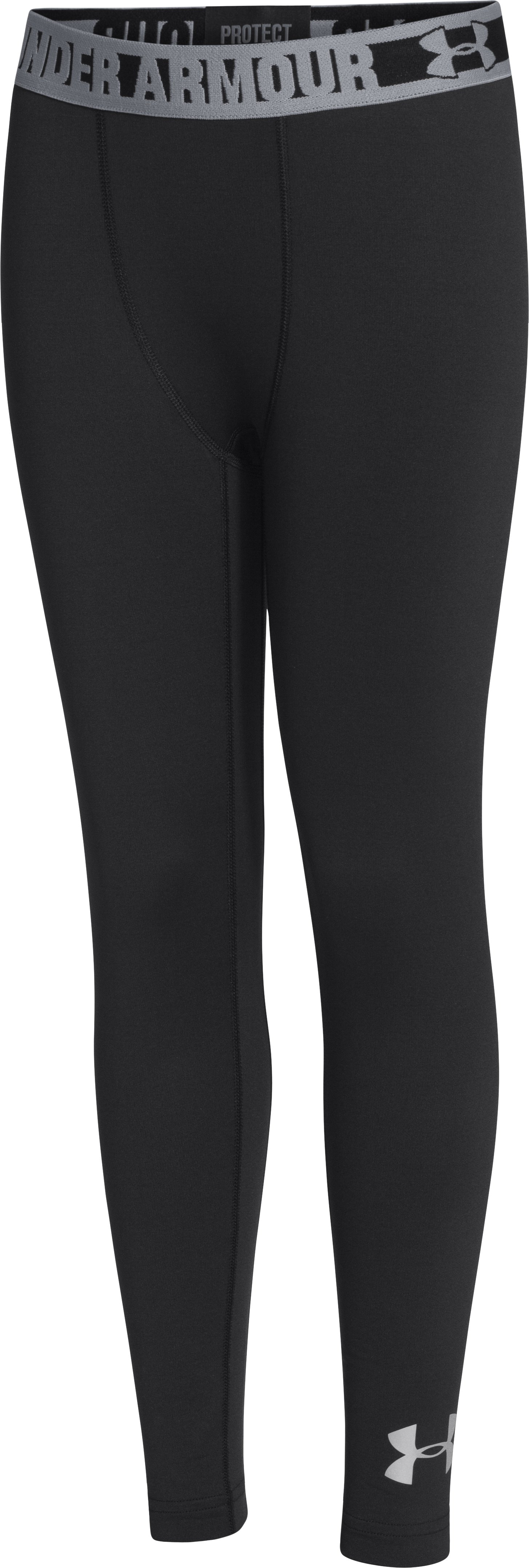 Boys' UA ColdGear® Armour Fitted Leggings, Black , zoomed image