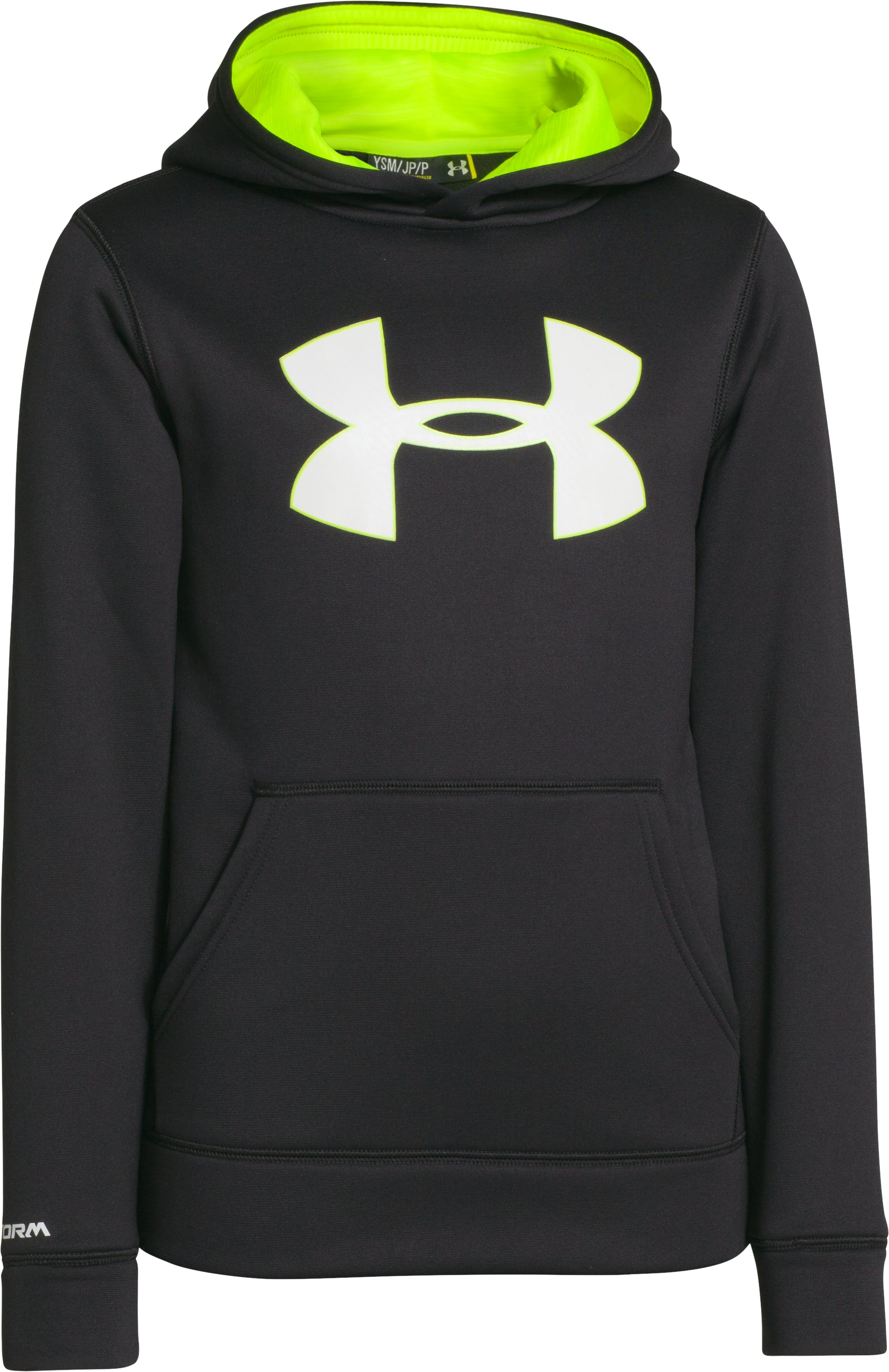 Boys' UA Storm Armour® Fleece Big Logo Hoodie, Black