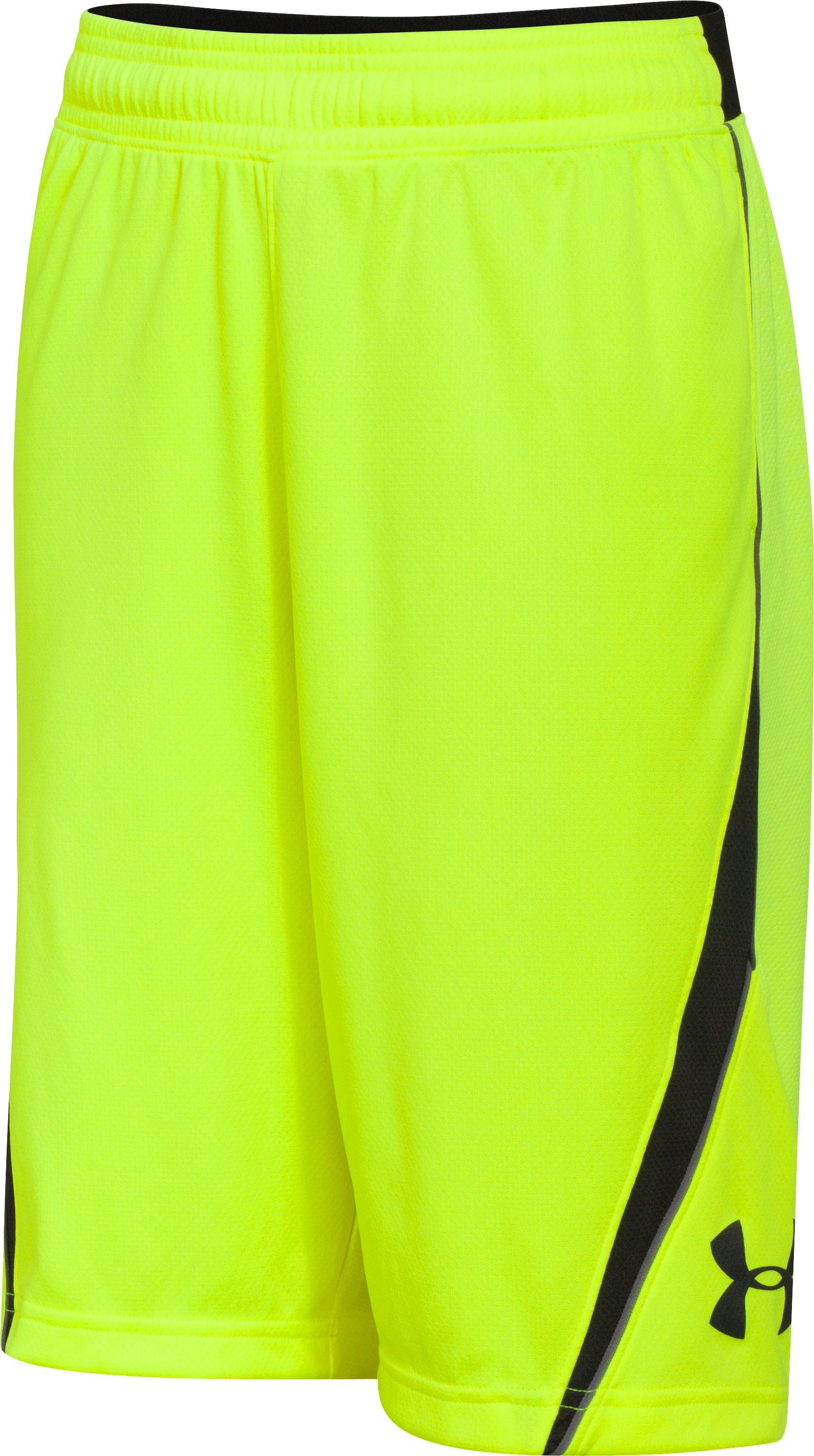 Boys' UA Floor General Shorts, High-Vis Yellow, zoomed image