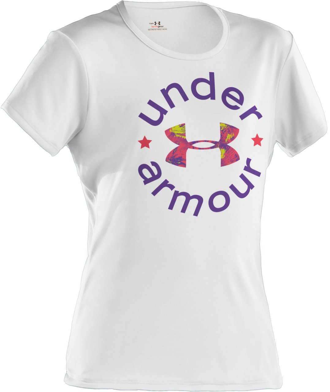 Girls' UA Wordmark Graphic T-Shirt, White, zoomed image