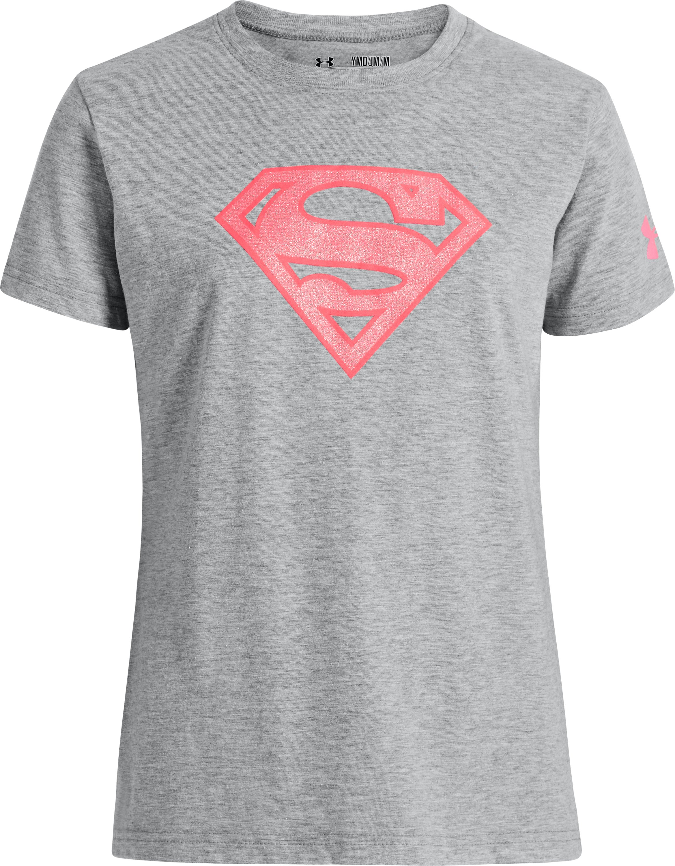 Girls' Under Armour® Alter Ego Supergirl T-Shirt, True Gray Heather, zoomed image