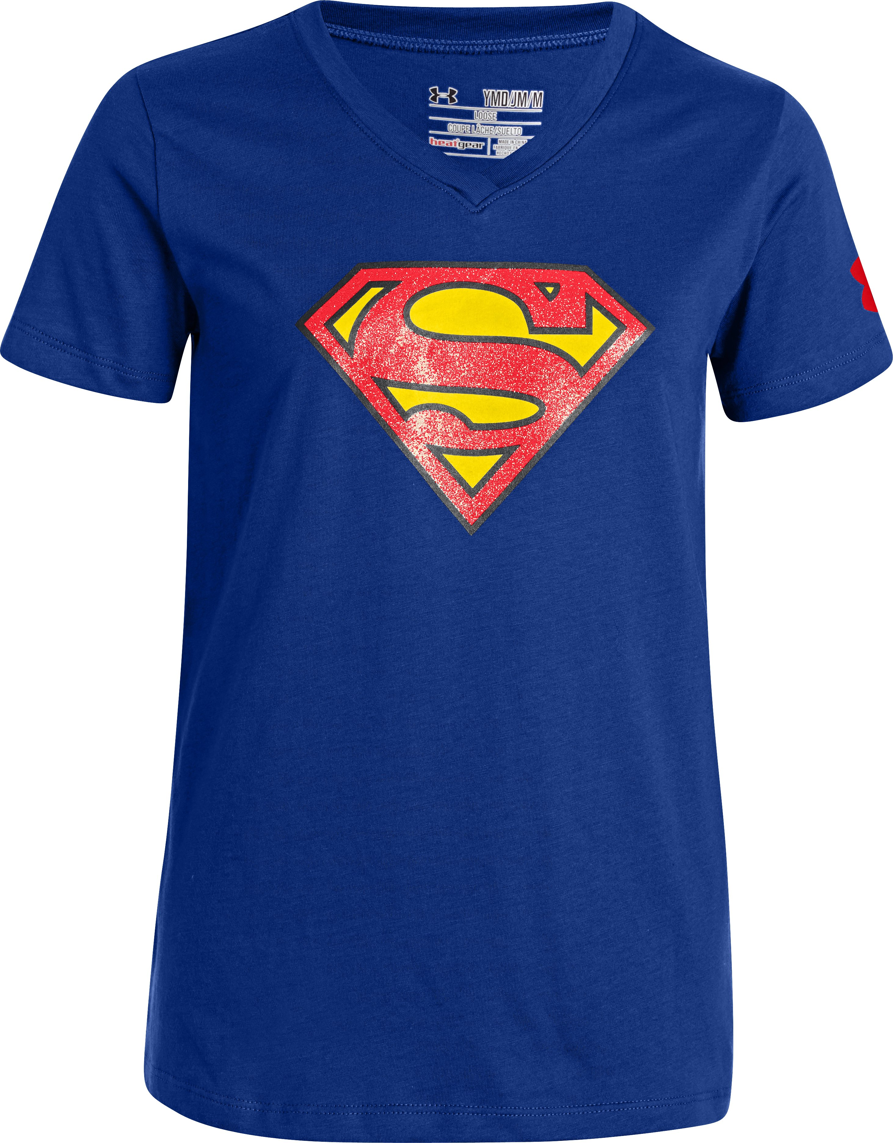 Girls' UA Supergirl V-Neck, Royal