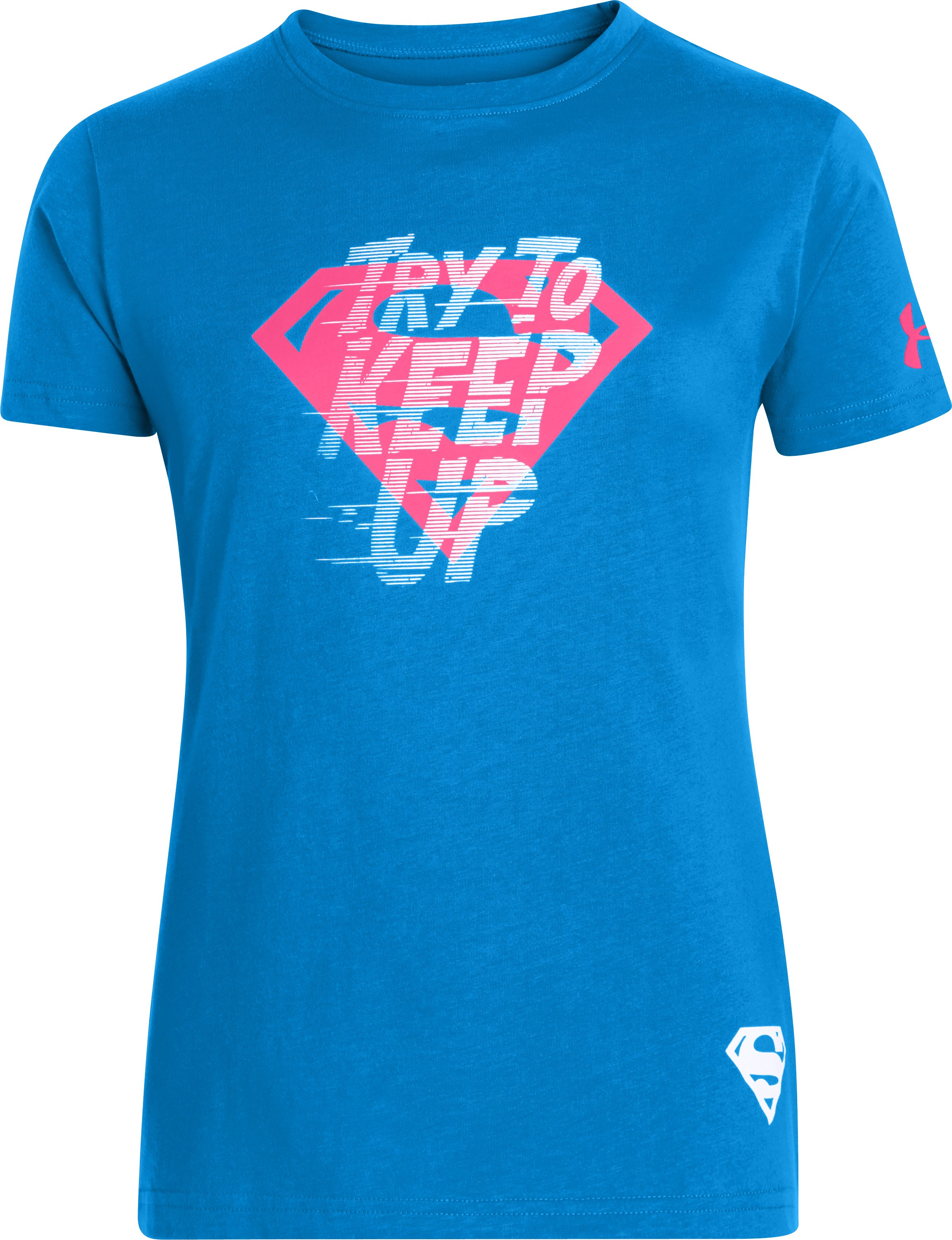 Girls' UA Neon Supergirl T-Shirt, ELECTRIC BLUE