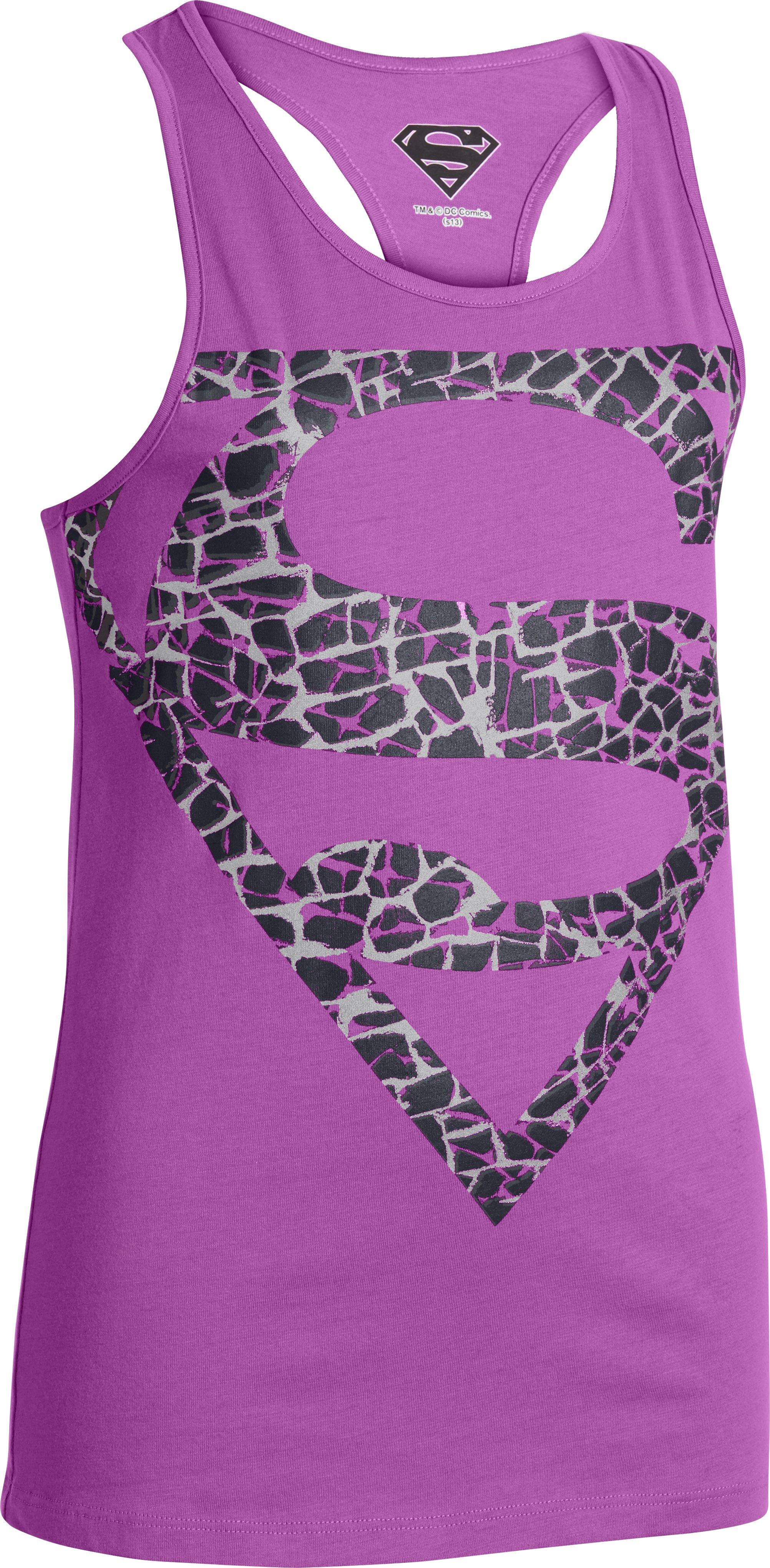 Girls' UA Supergirl Printed Logo Tank, EXOTIC BLOOM