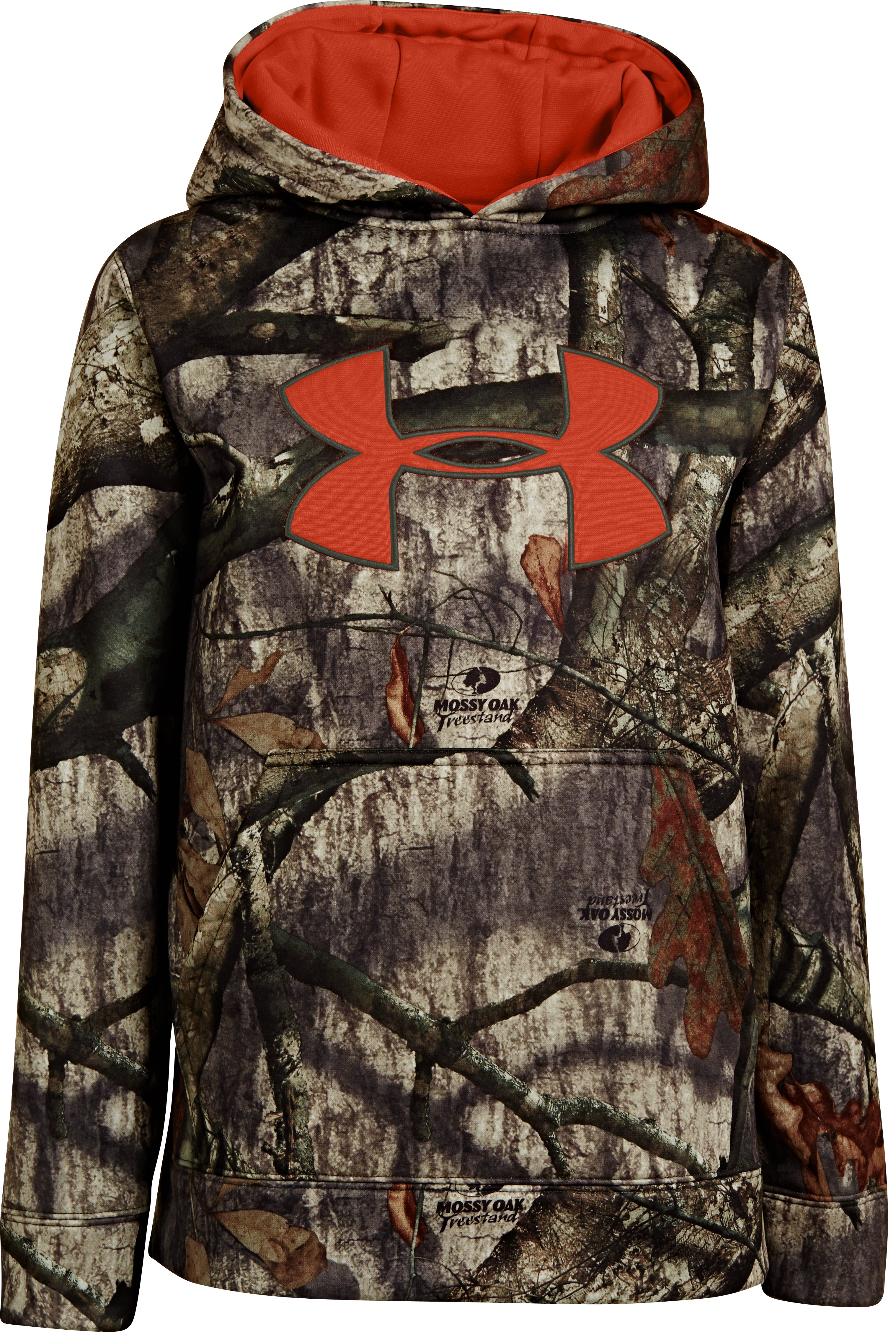 Boys' Armour® Fleece Camo Big Logo Hoodie, Mossy Oak Treestand