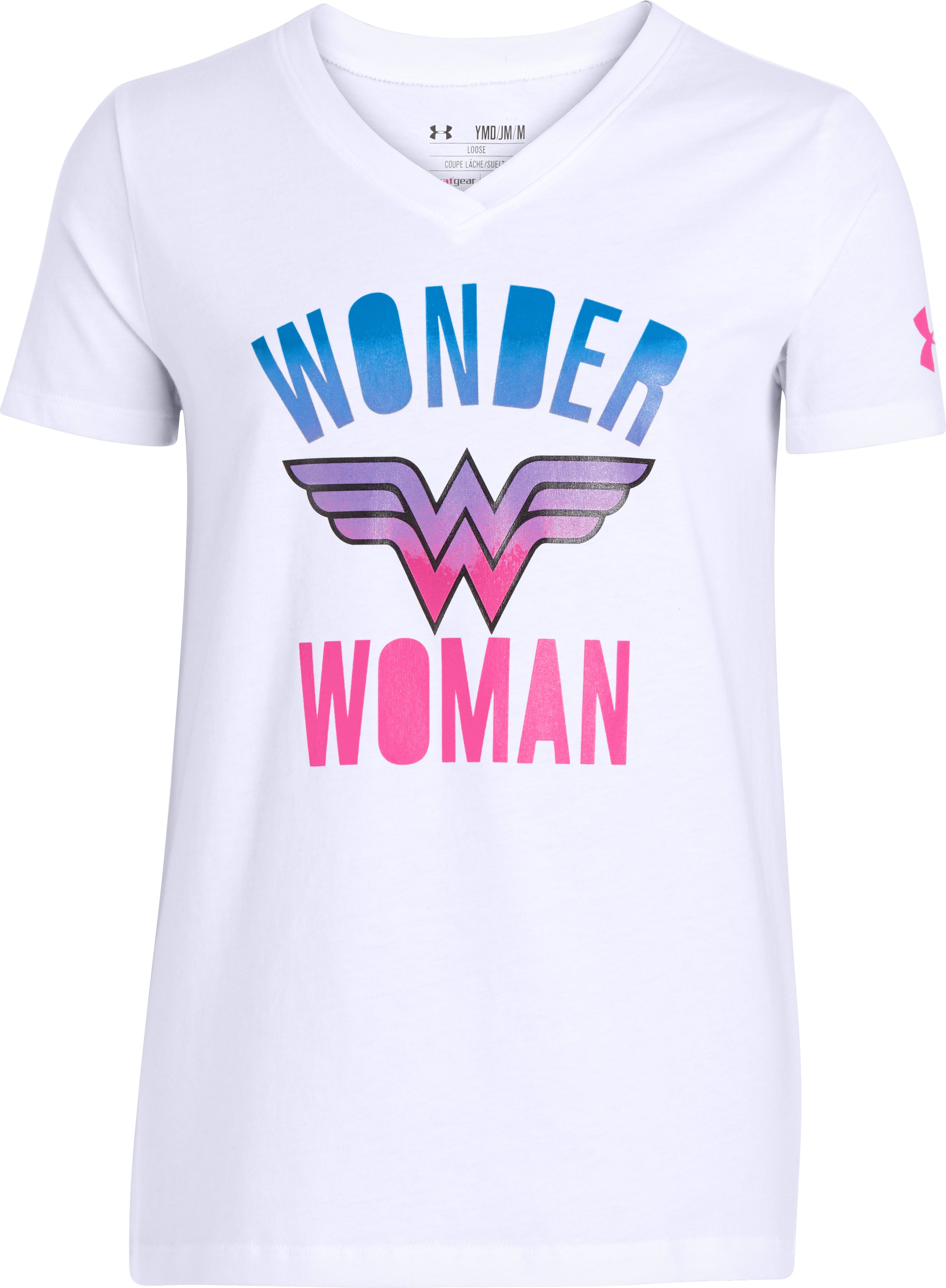 Girls' UA Wonder Woman V-Neck, White,