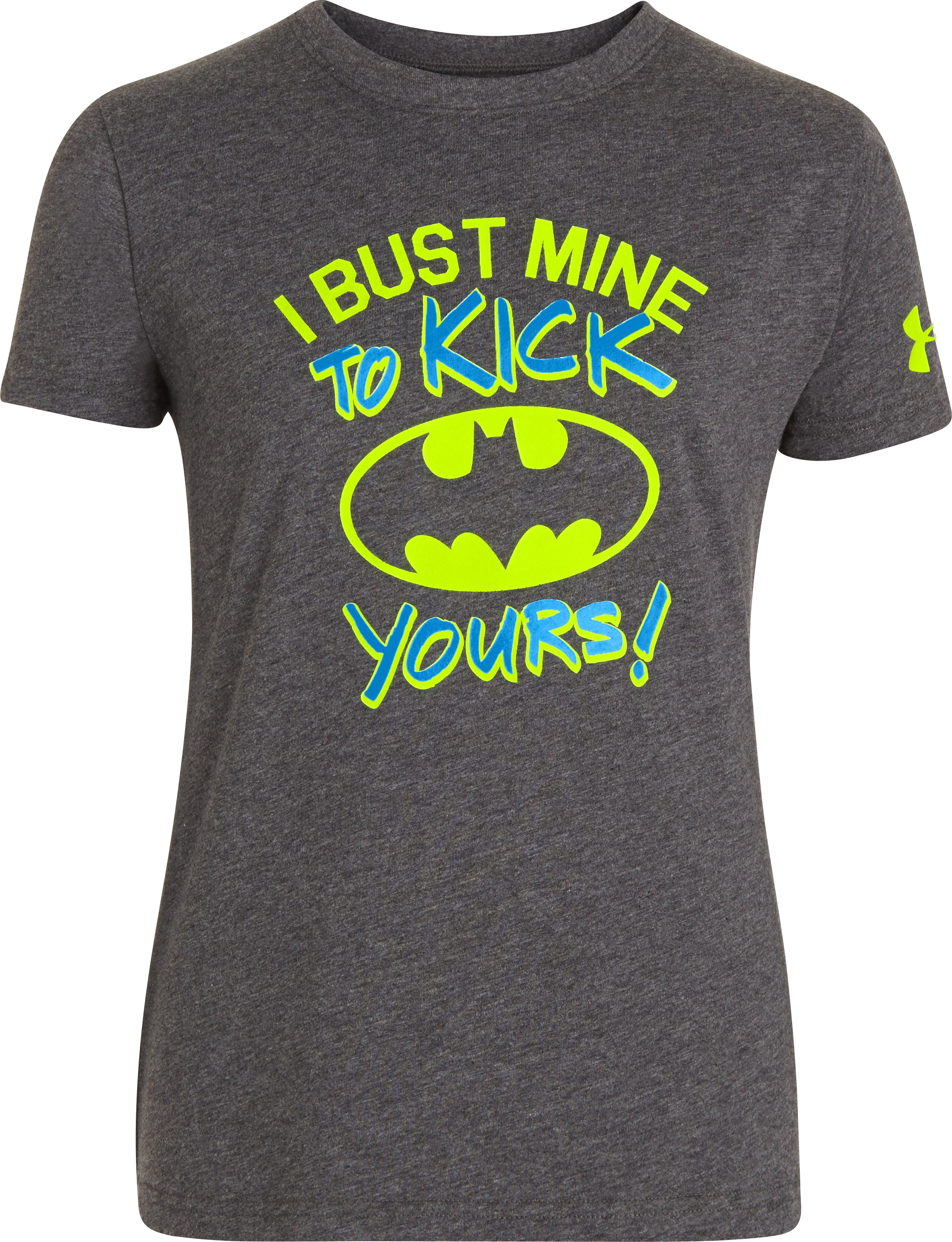 Girls' UA Neon Batgirl T-Shirt, Carbon Heather