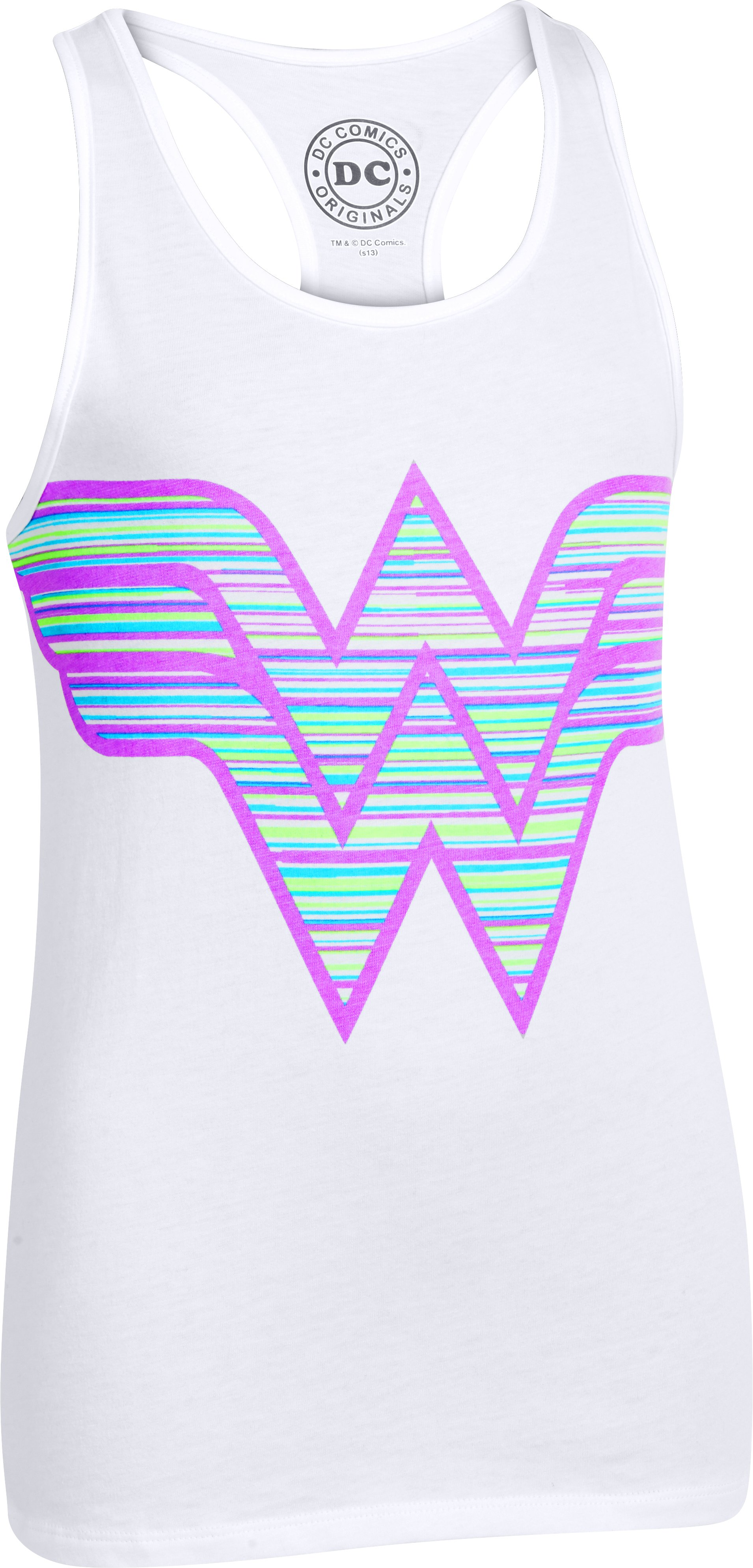 Girls' UA Wonder Woman Printed Logo Tank, White, zoomed image