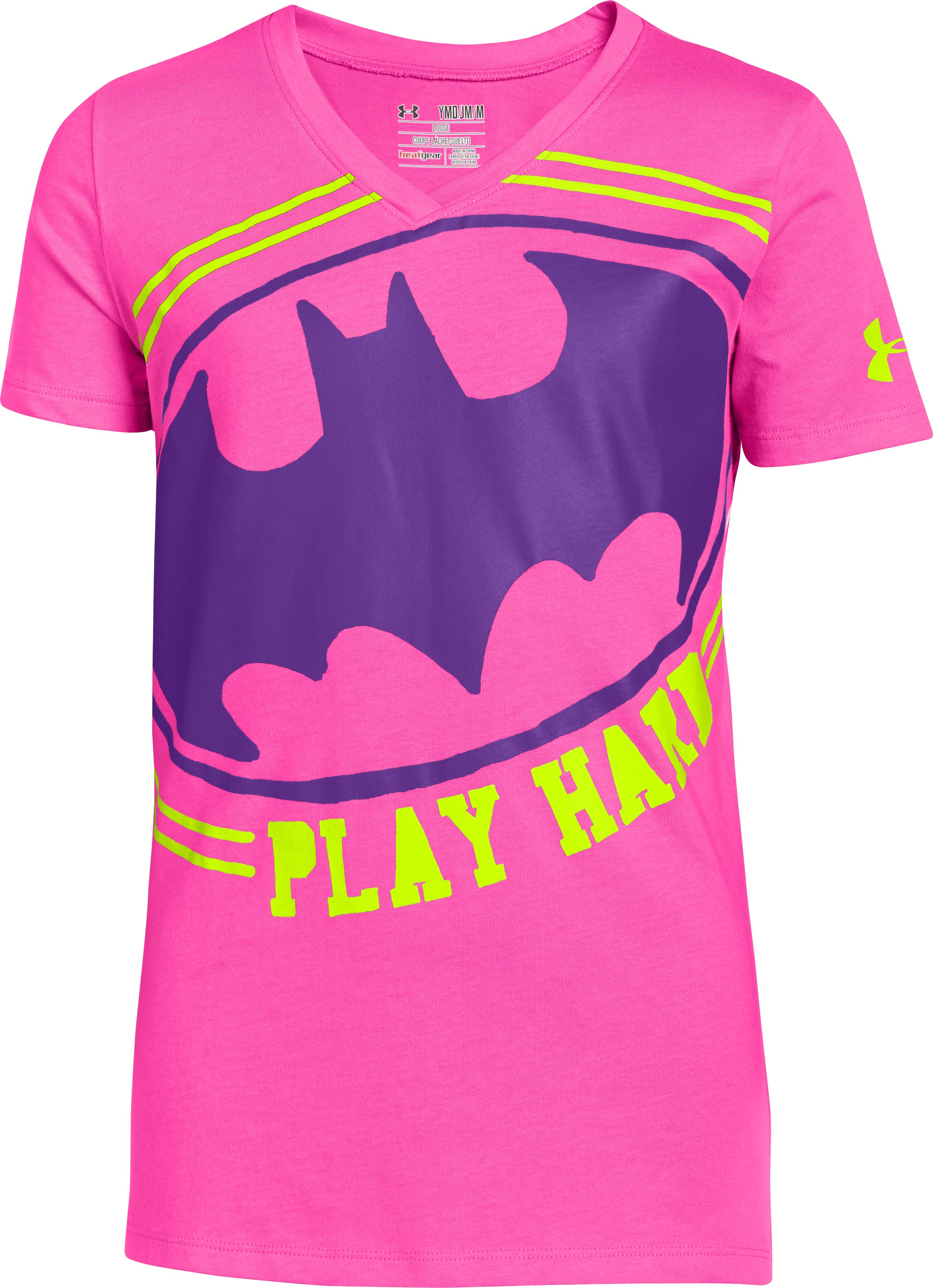 Girls' Under Armour® Alter Ego Batgirl V-Neck, CHAOS, zoomed image